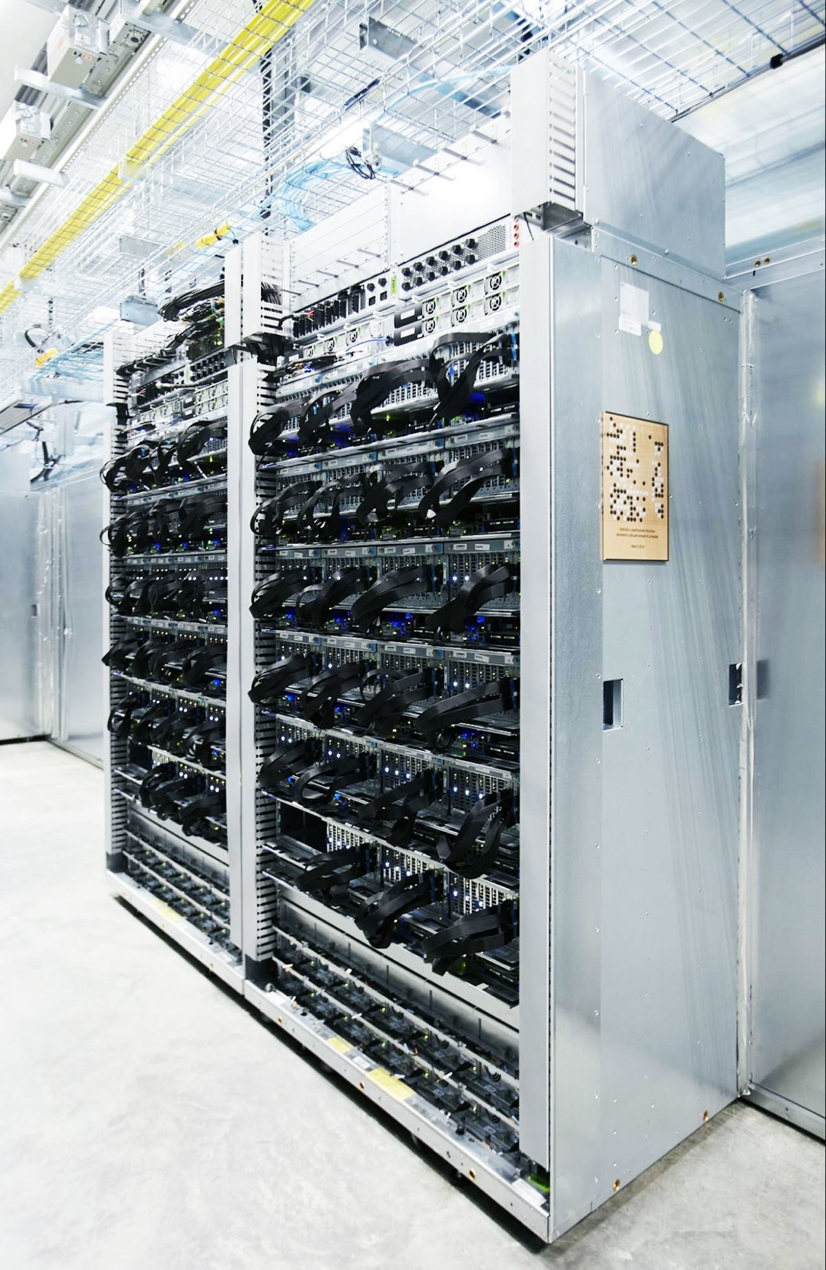 Server racks with TPUs used in the AlphaGo matches with Lee Sedol.