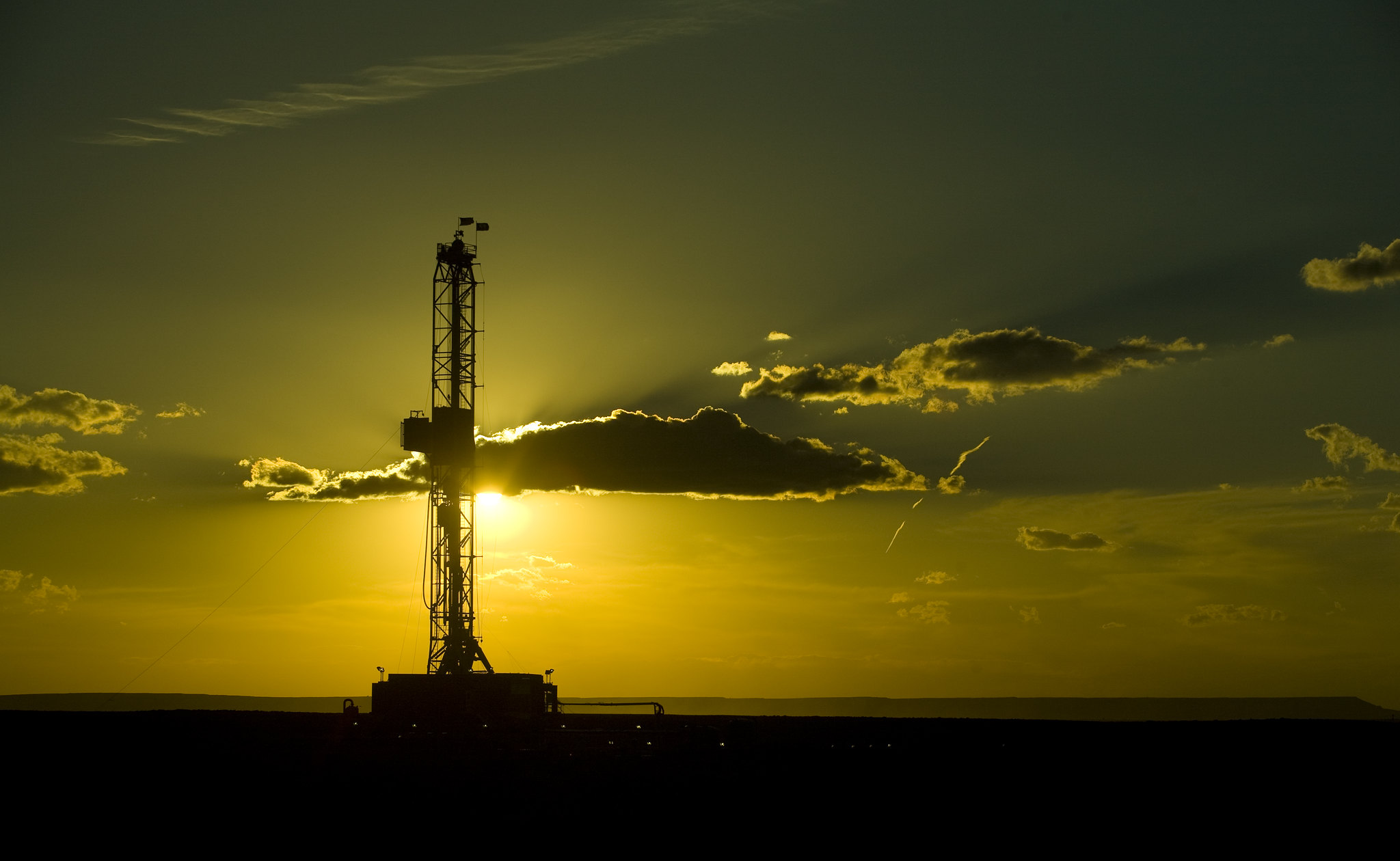 A drilling rig in Wamsutter, Wyoming.