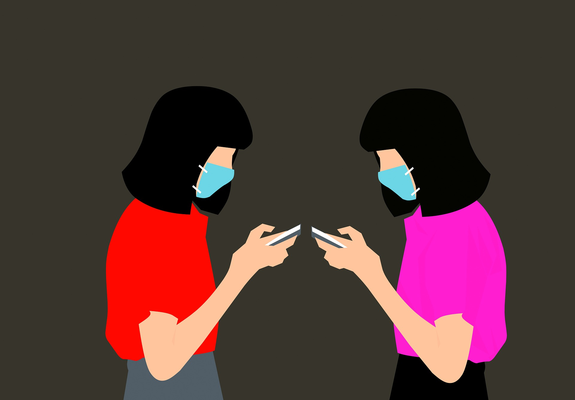 Women wearing face masks checking their phones
