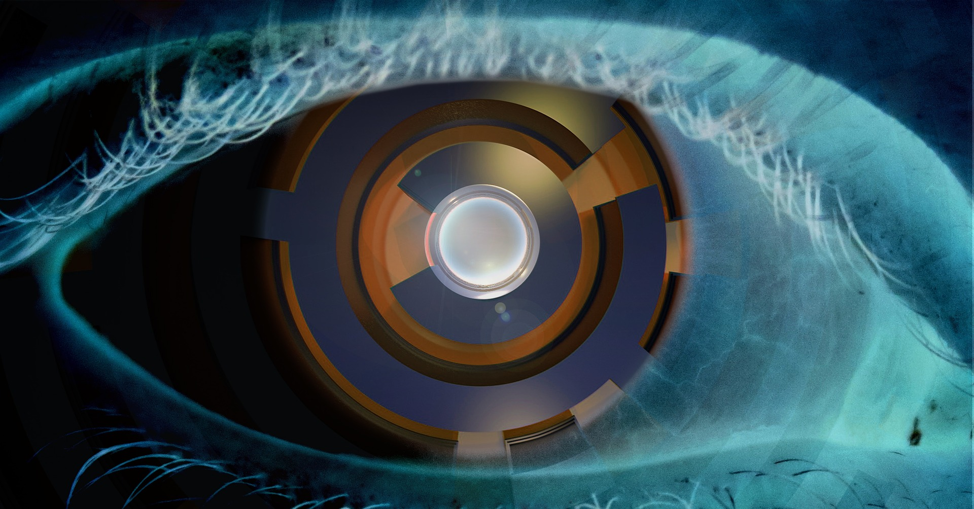 A stylized image of an artificial eye