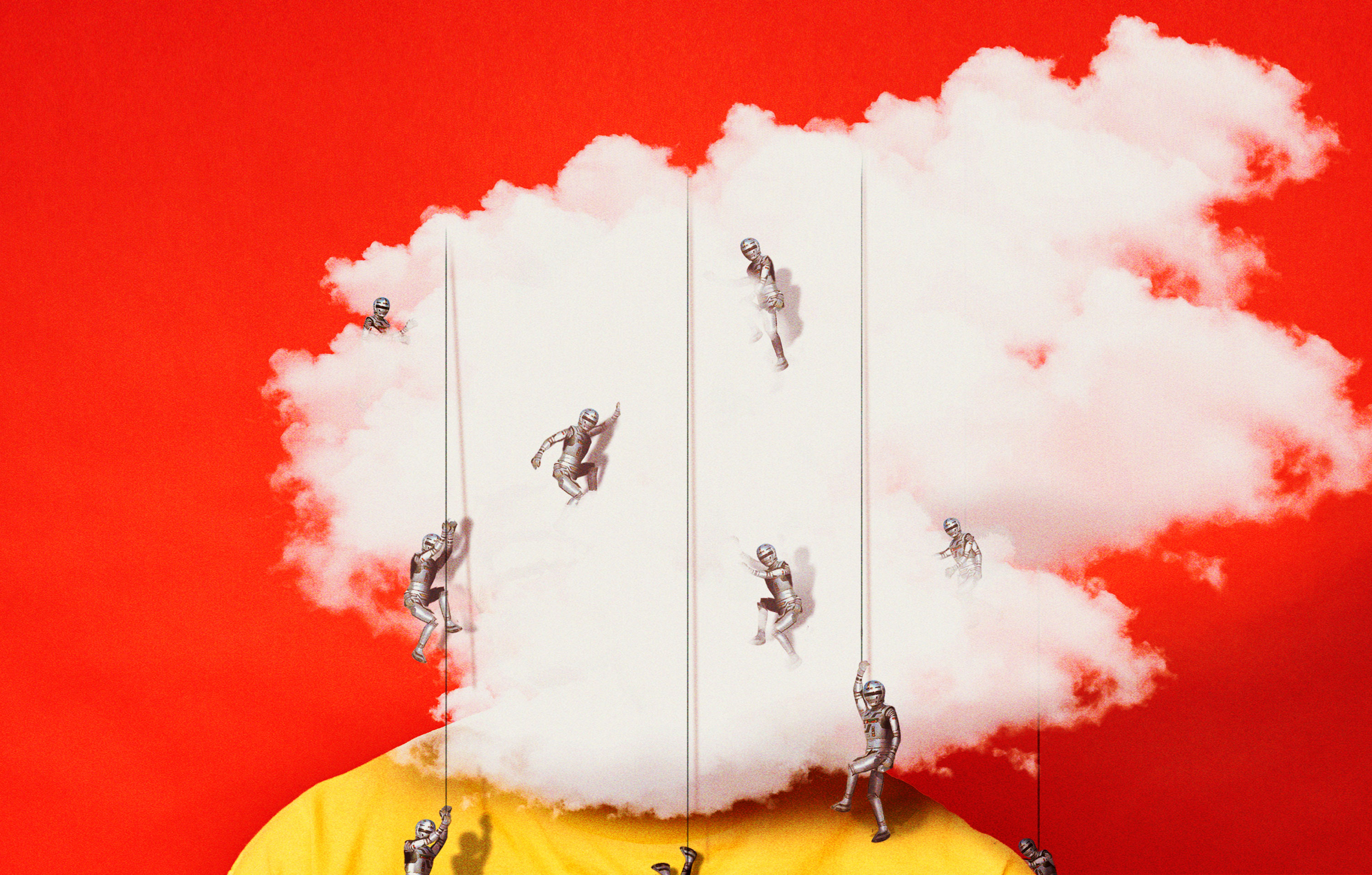 Conceptual illustration showing a person whose face is obscured by a cloud with small soldiers rappelling over it.