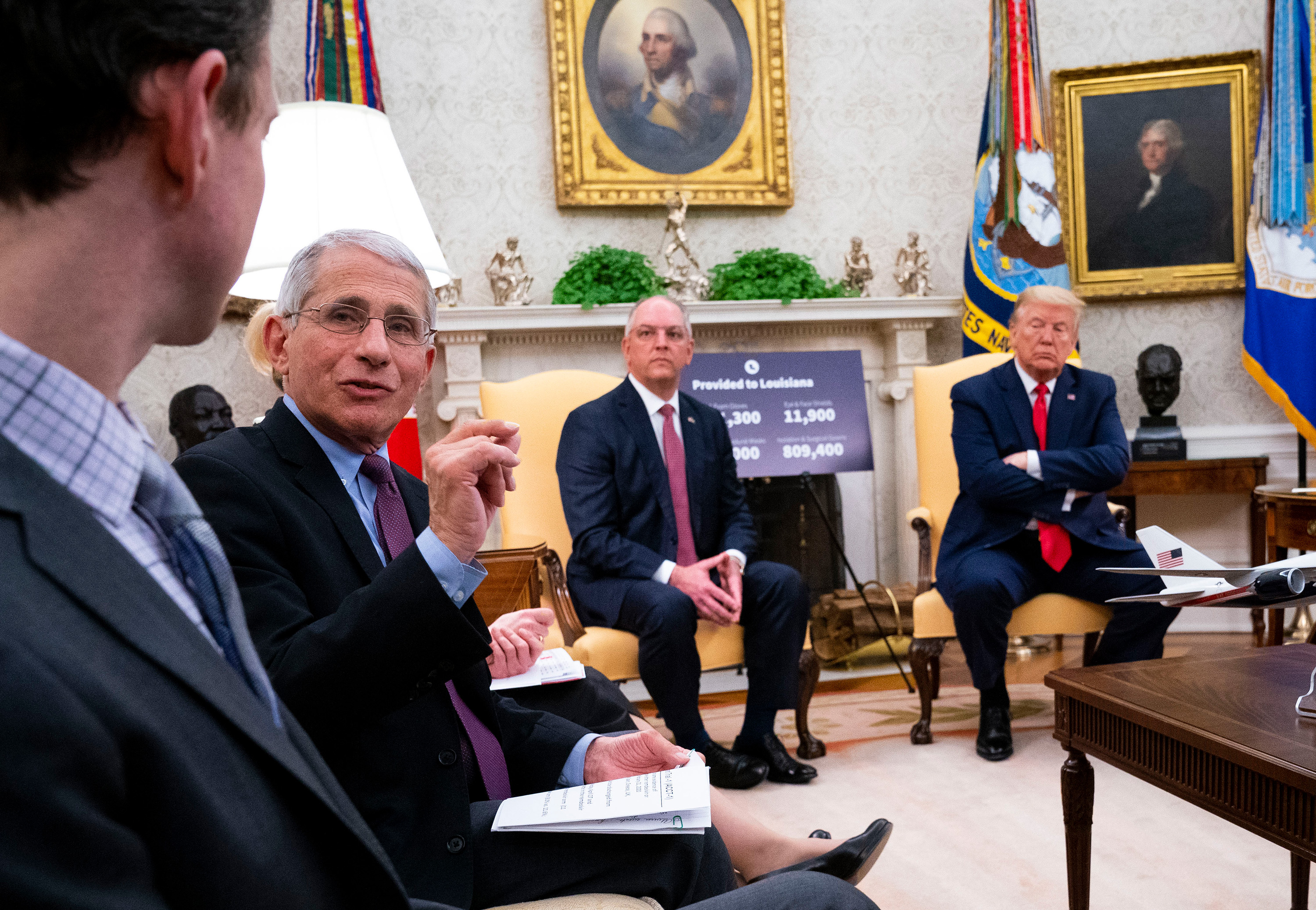 Anthony Fauci discusses promising results from tests of the drug remdesivir during a meeting with President Donald Trump and Louisiana Gov. John Bel Edwards at the White House.