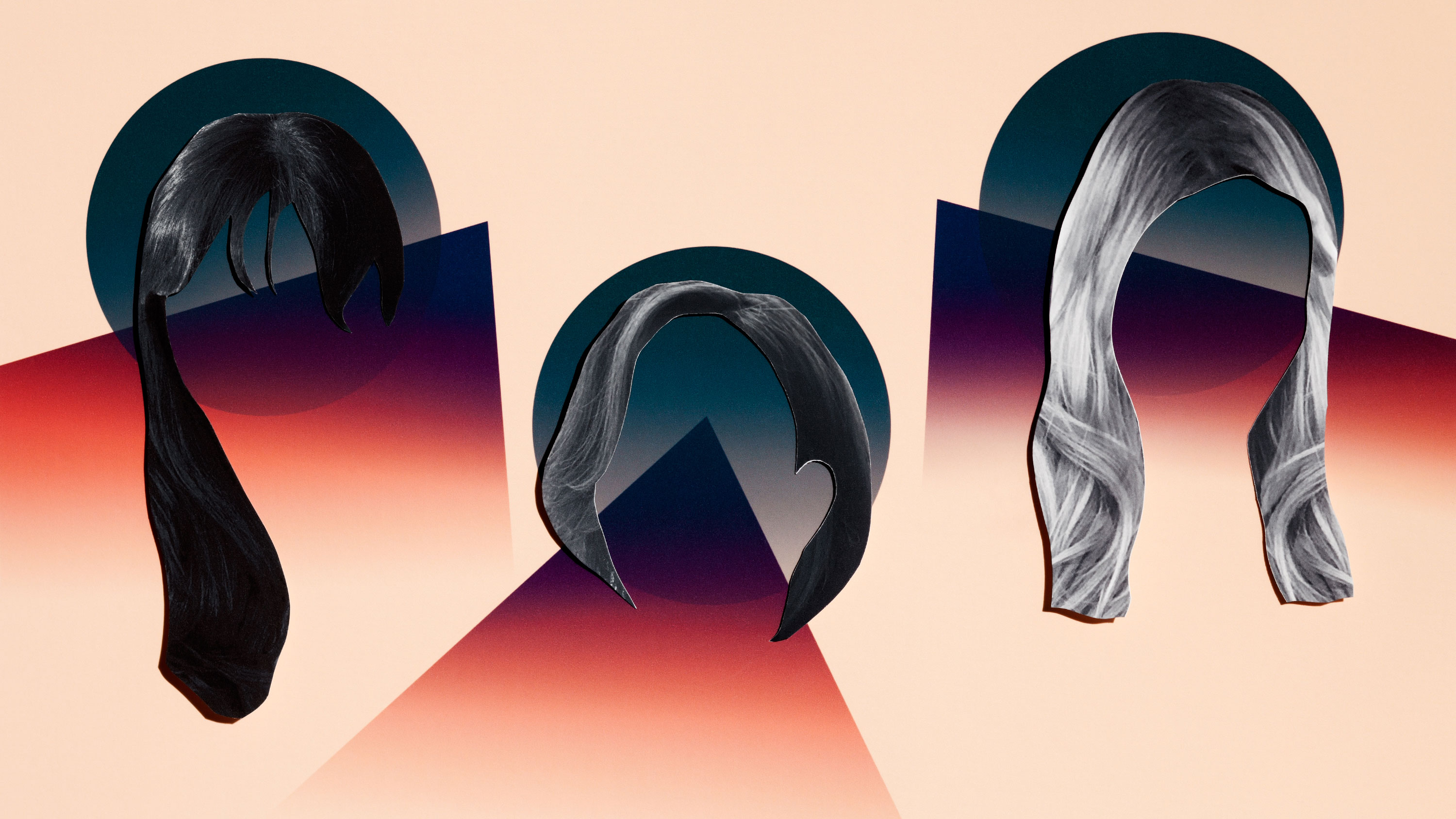 conceptual illustration of 3 women's silhouetted faces