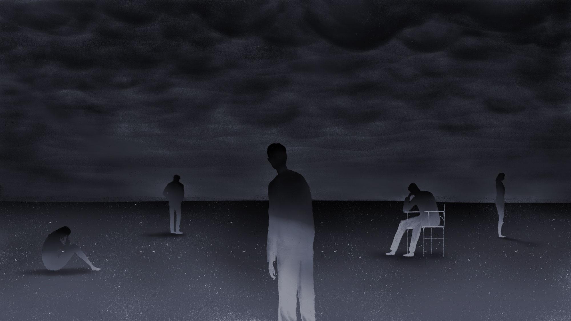 conceptual illustration showing 5 figures in a dark empty landscape
