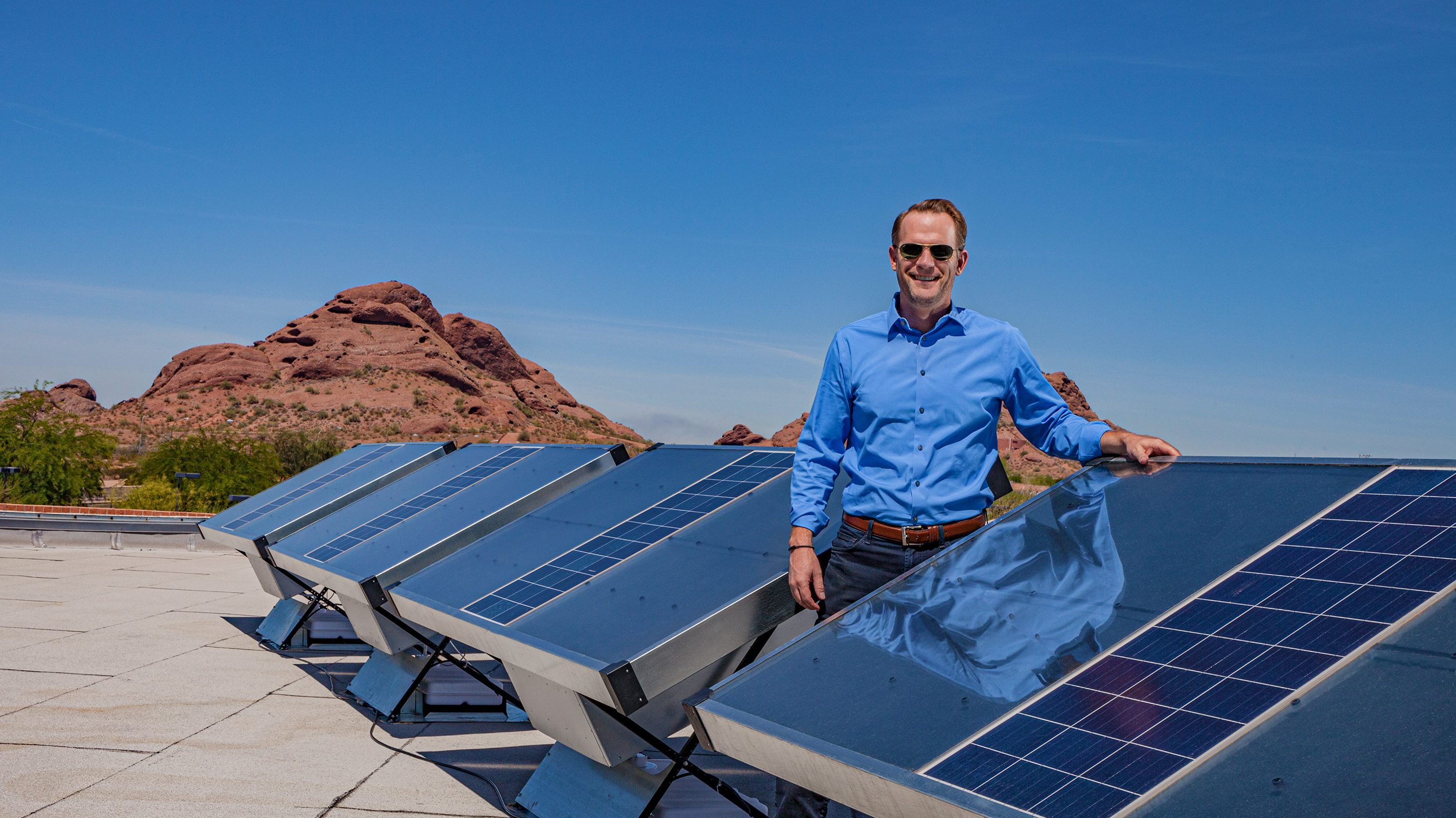 Cody Friesen, PhD '04, invented panels that harvest water from the air—even in arid Arizona. And that's after he'd figured out how to make rechargeable high-energy batteries that are cheap and eco-friendly.