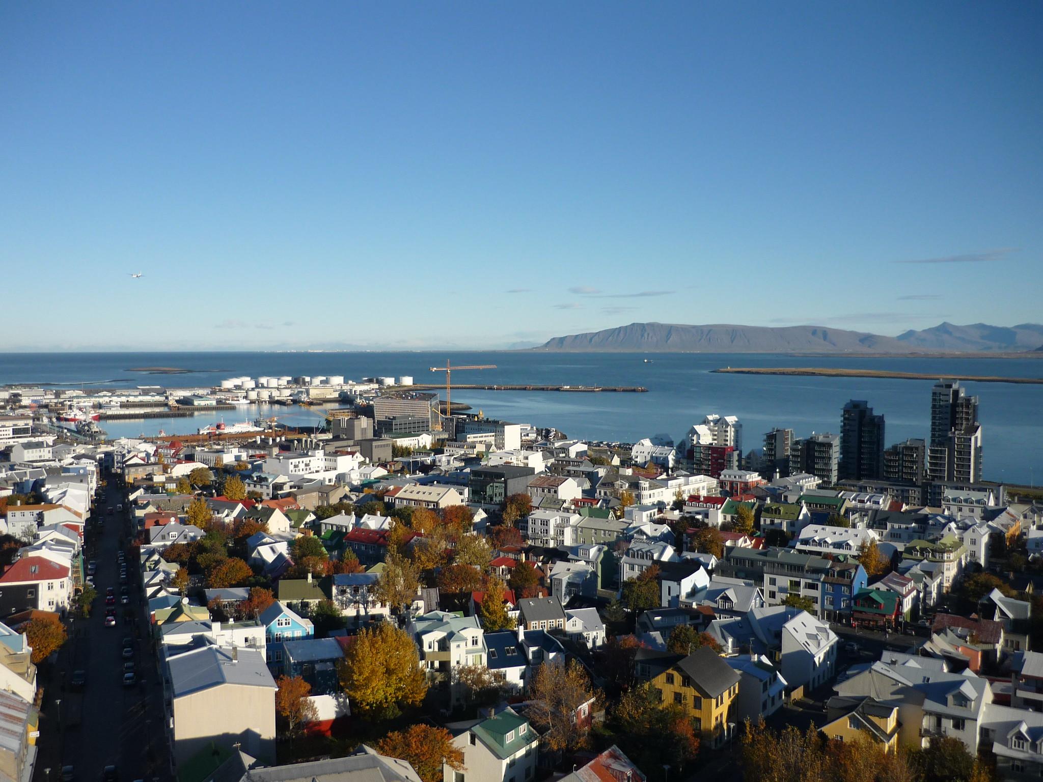 A panoramic shot of Reykjavik, Iceland