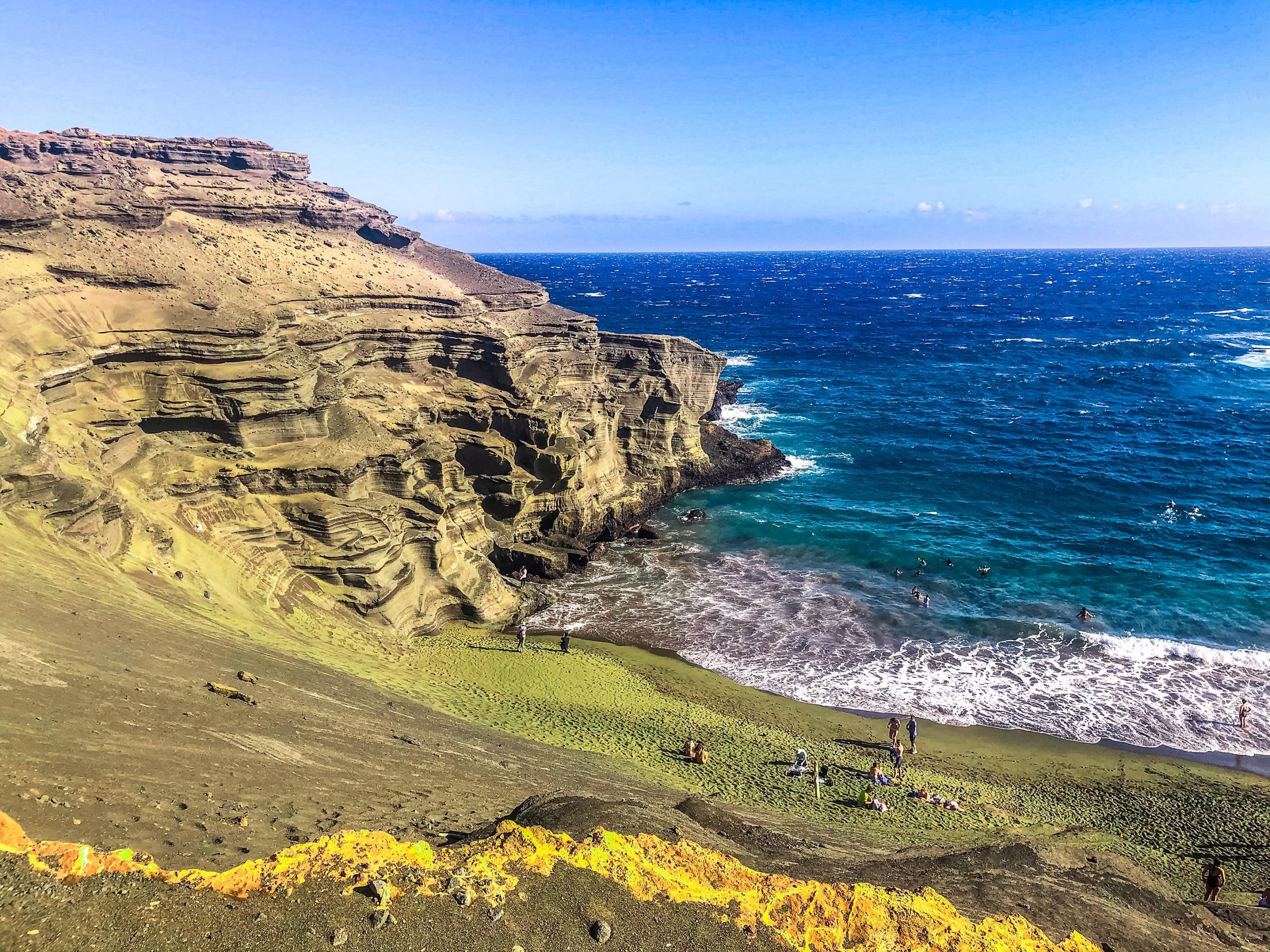 A green sand beach