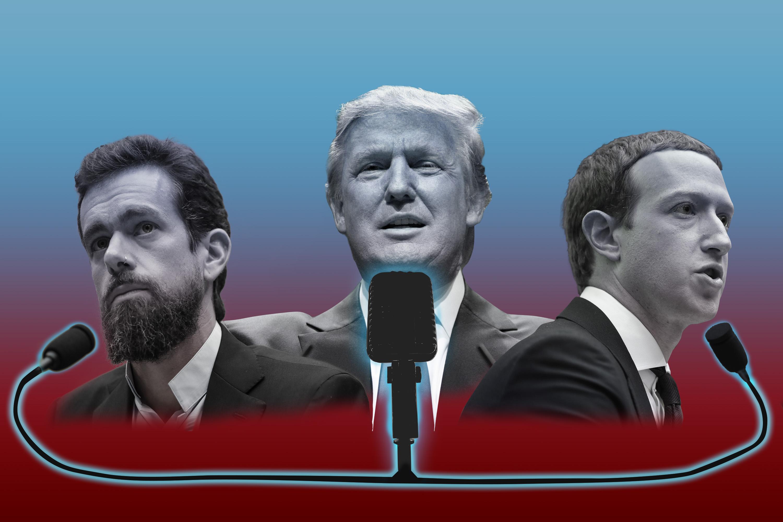 Jack Dorsey, Donald Trump, and Mark Zuckerberg
