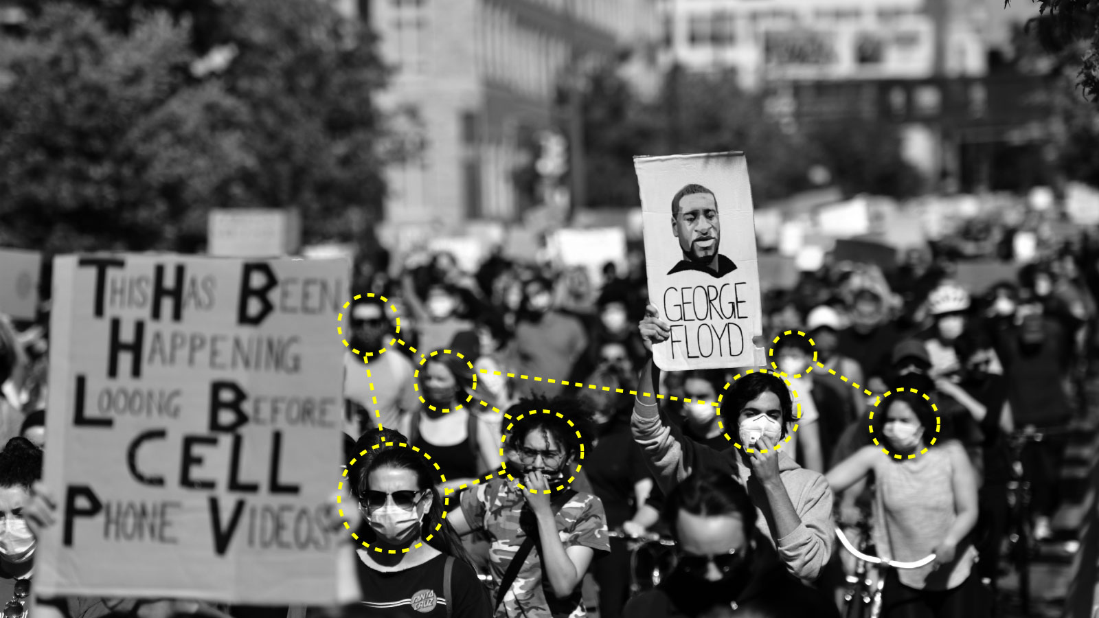 Photograph of a BLM protest with surveillance network drawn over it