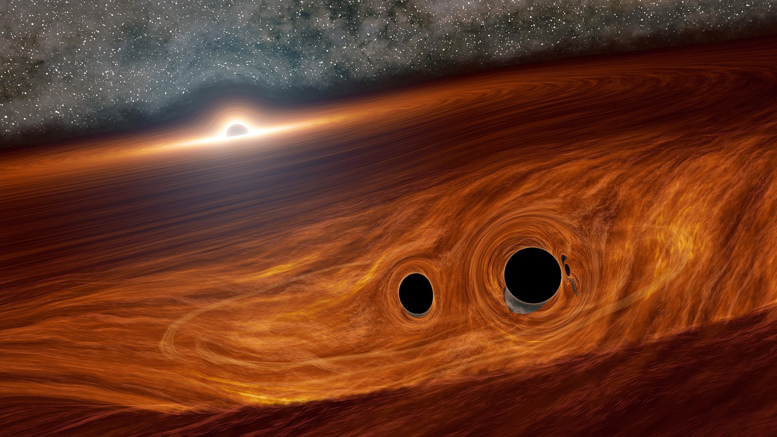 black hole merger with supermassive black hole