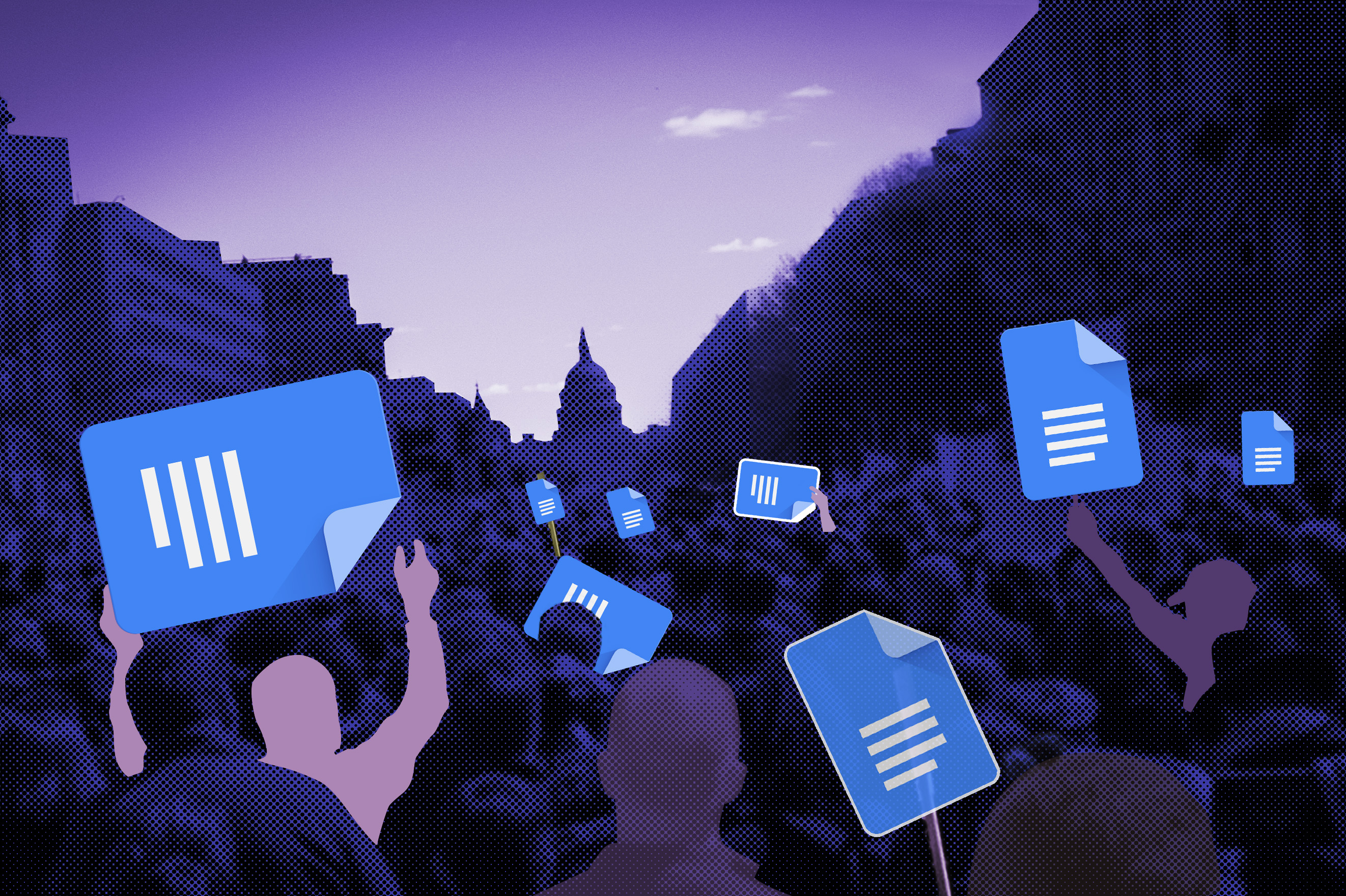 illustration of crowds holding Gdoc signs