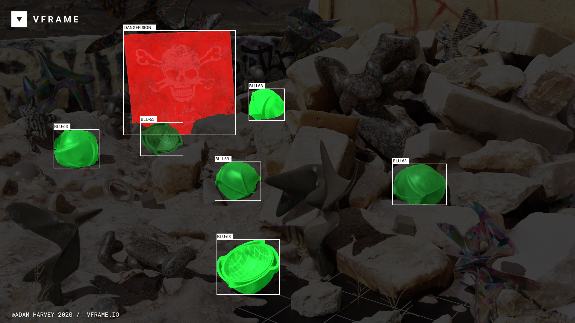 A machine-learning system detects BLU-63 cluster munitions in a still image.