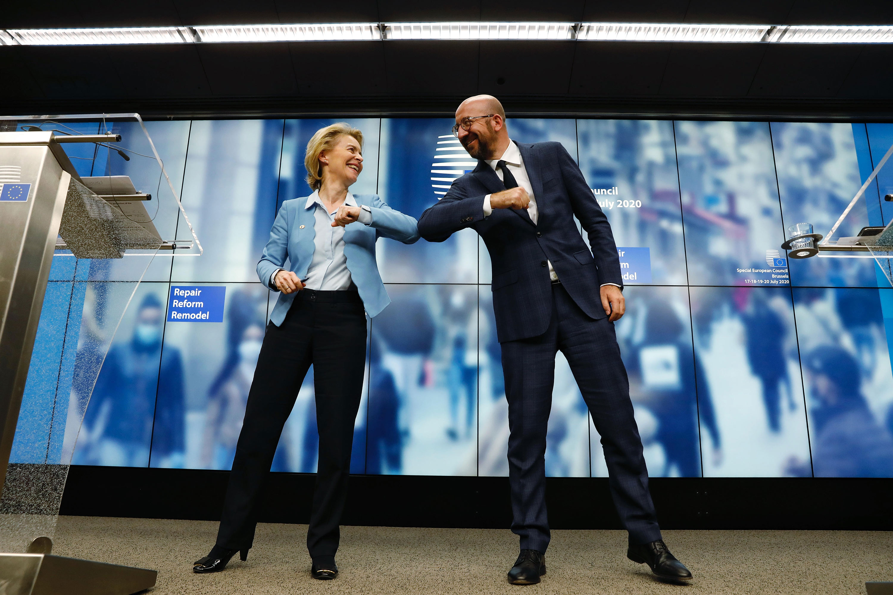 Ursula von der Leyen and Charles Michel elbow bump