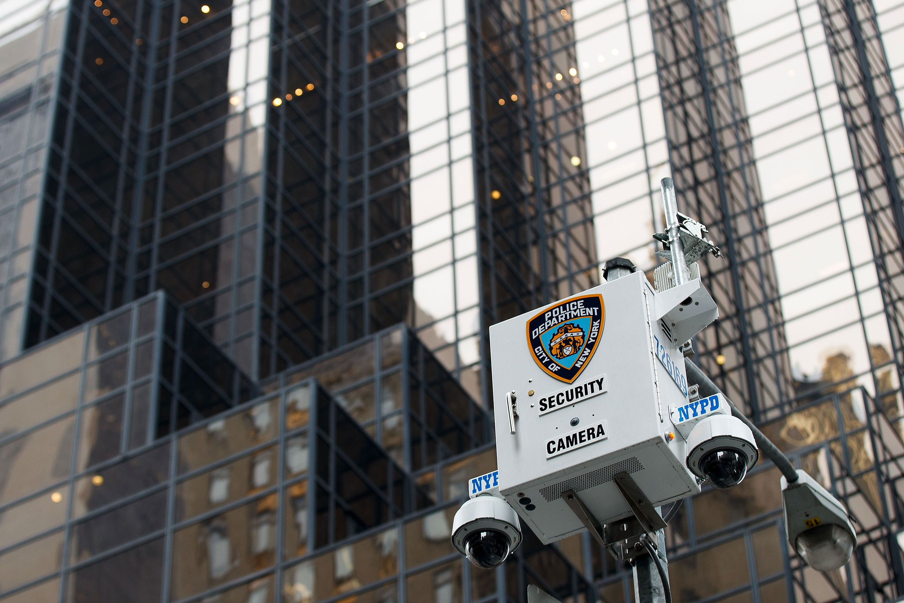 NYPD security camera box in front of Trump Tower