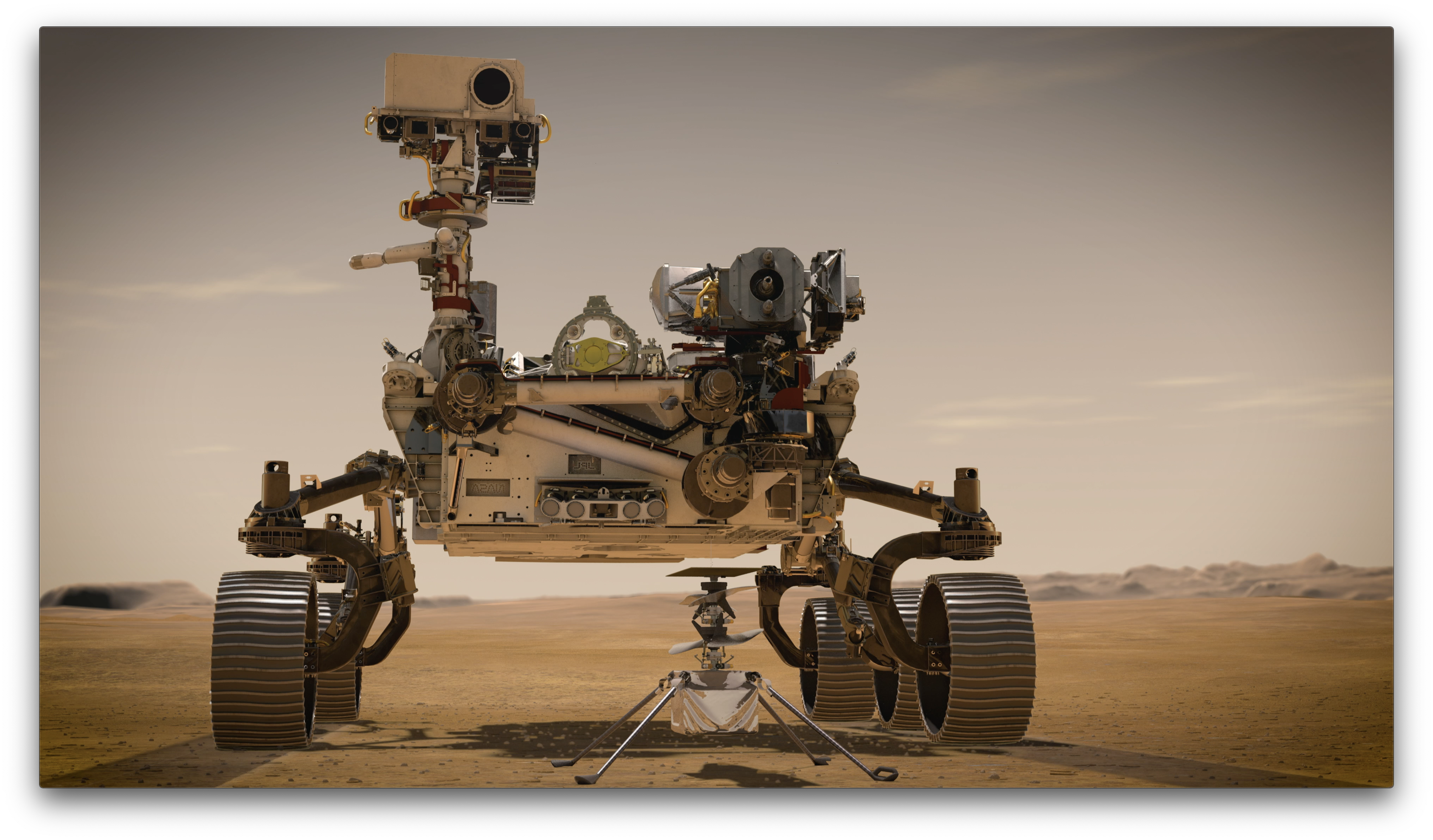 The Perseverance rover and the Ingenuity robotic helicopter.