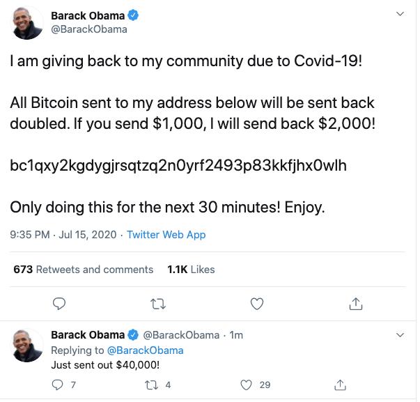 Cuenta de Twitter hackeada de Barack Obama