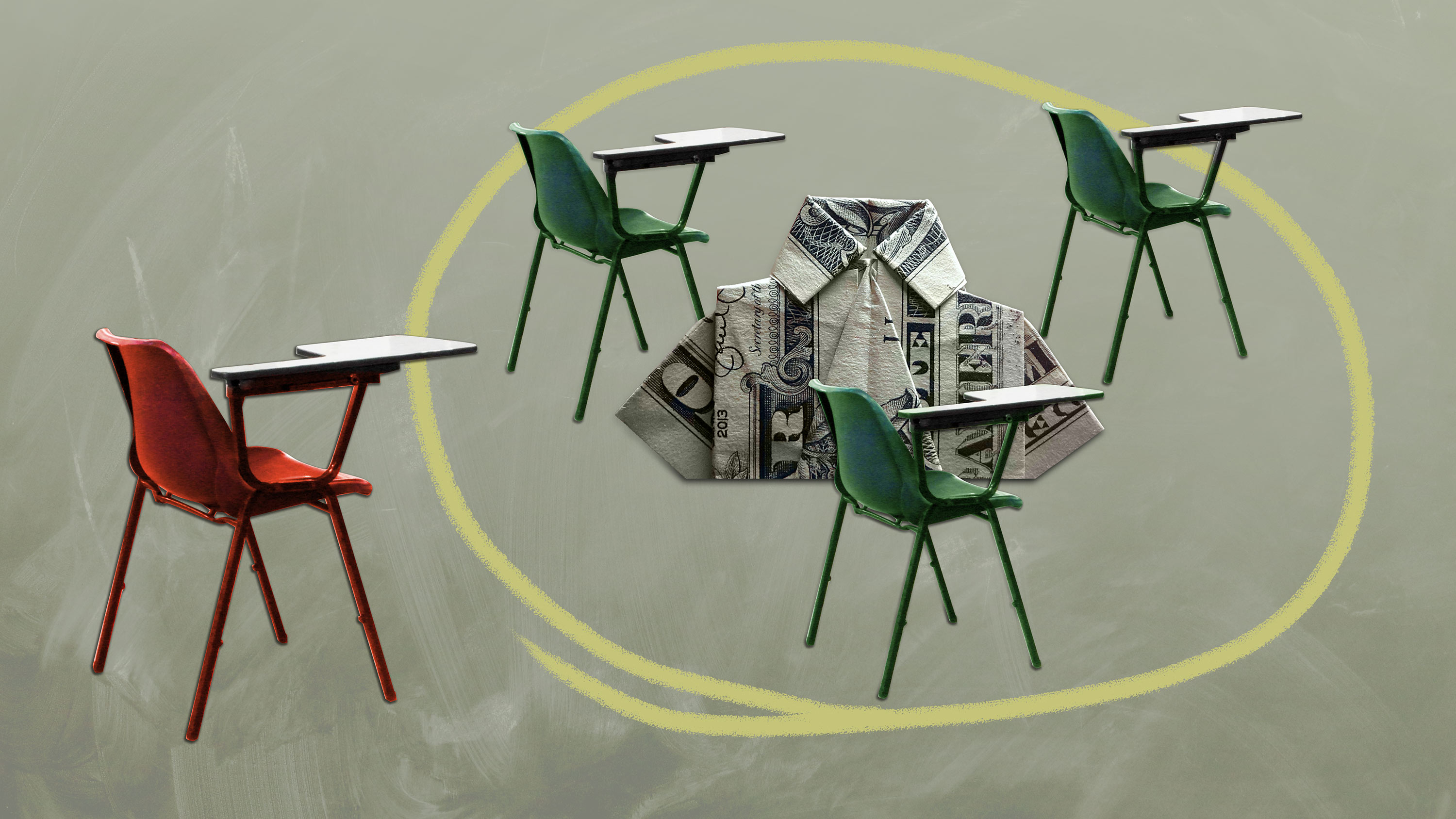 image of three desks with a shirt in the middle made of a dollar bill and red chair all alone in the corner pandemic pods microschool homeschool pod copod