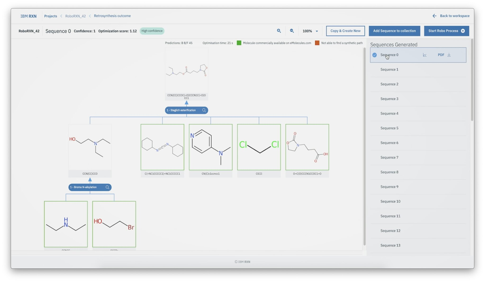 A screenshot of IBM's RoboRXN platform, which lets scientists draw the skeletal structure of the molecular compounds they want to make.
