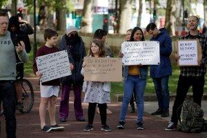 London anti-5G protestors on May 2, 2020