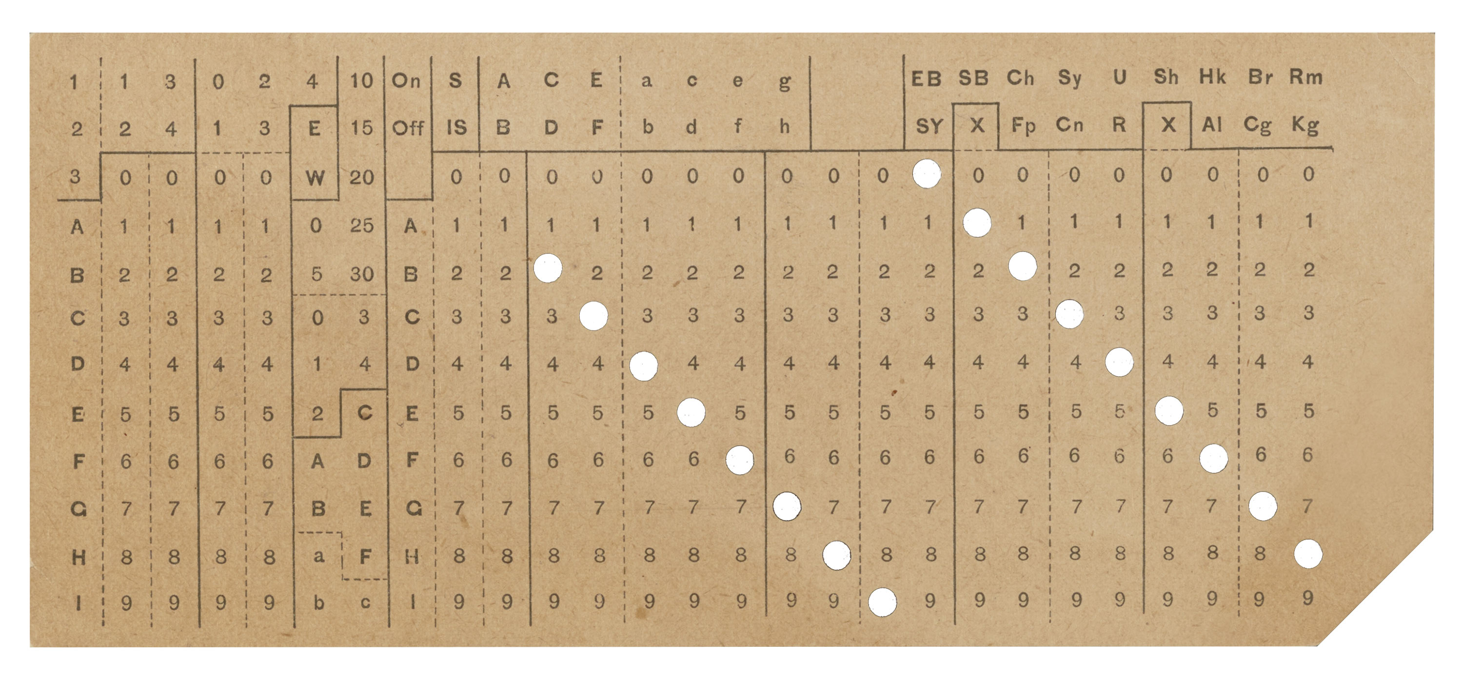 hollerith punch card