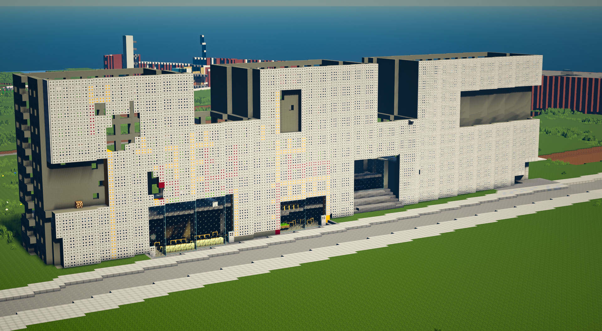 minecraft campus view of Simmons Hall