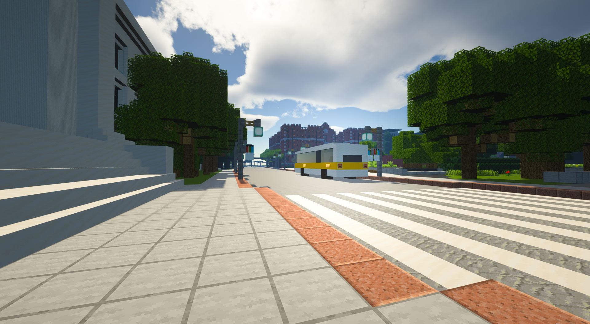 Minecraft bus stop on Mass Ave