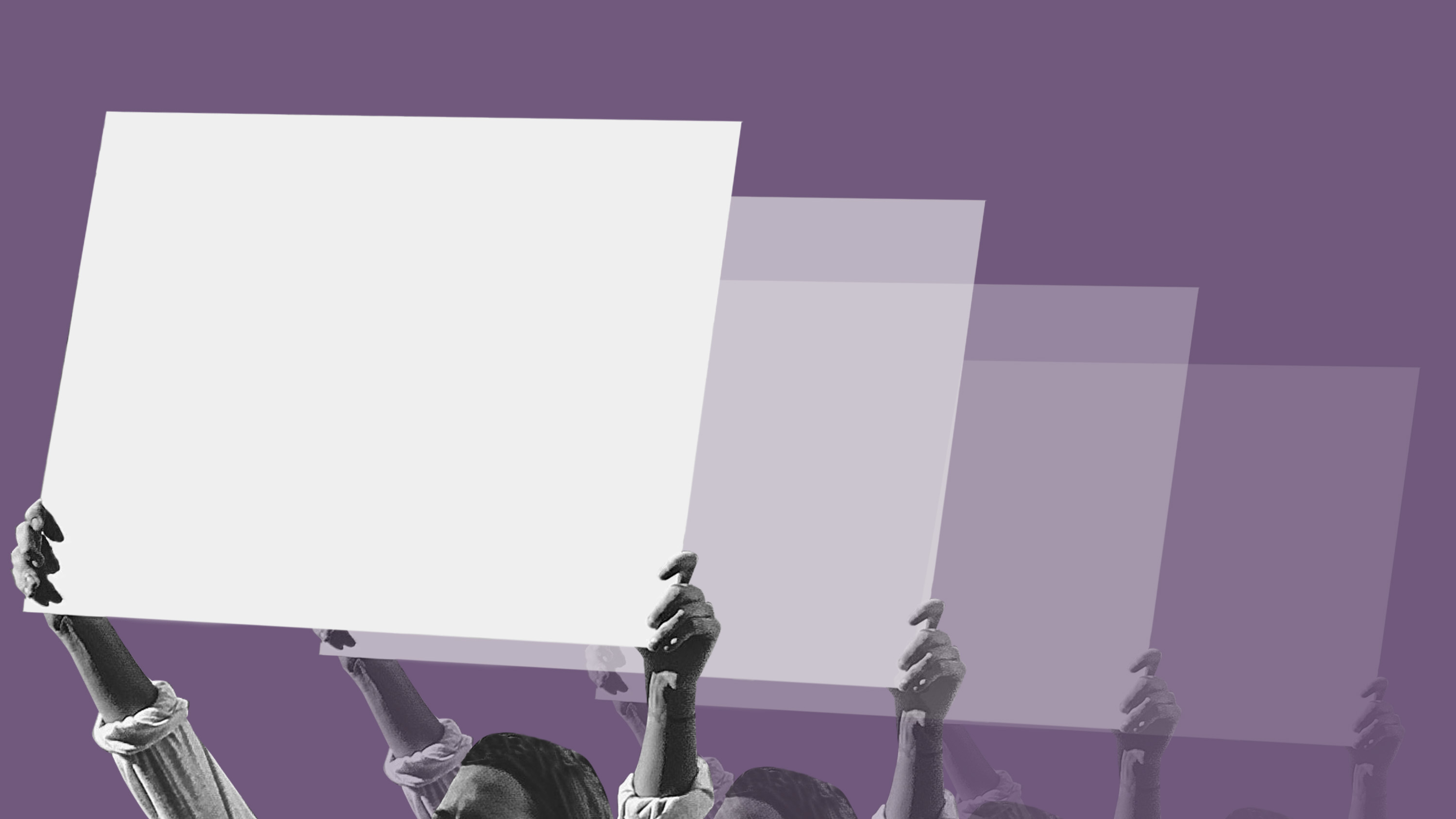 carrd carrds illustration of protestors holding placards on purple background