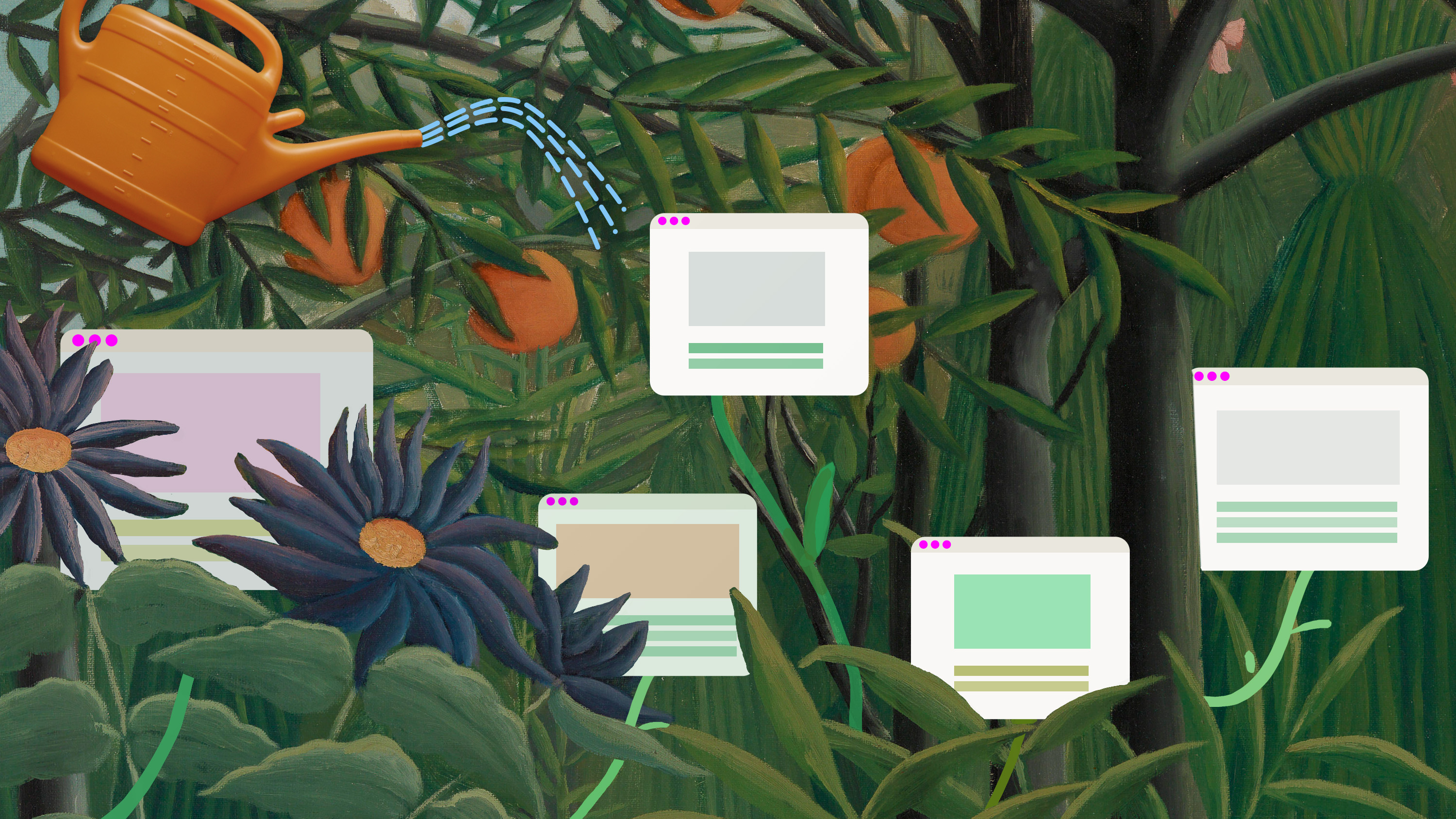 digital garden illustration of wild plants with flowers growing around screens