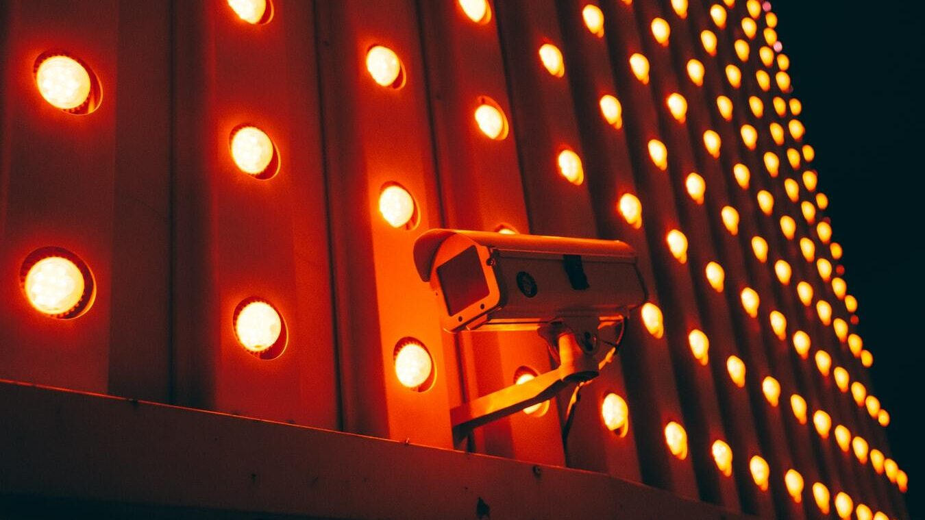 A face recognition camera at night.
