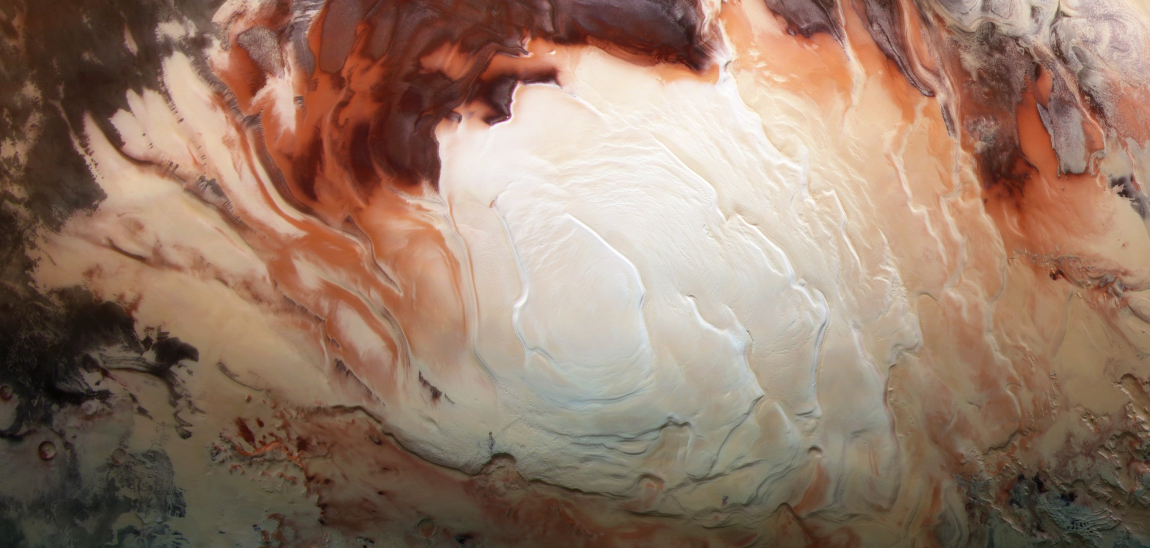 The Martian south pole as seen by Mars Express.