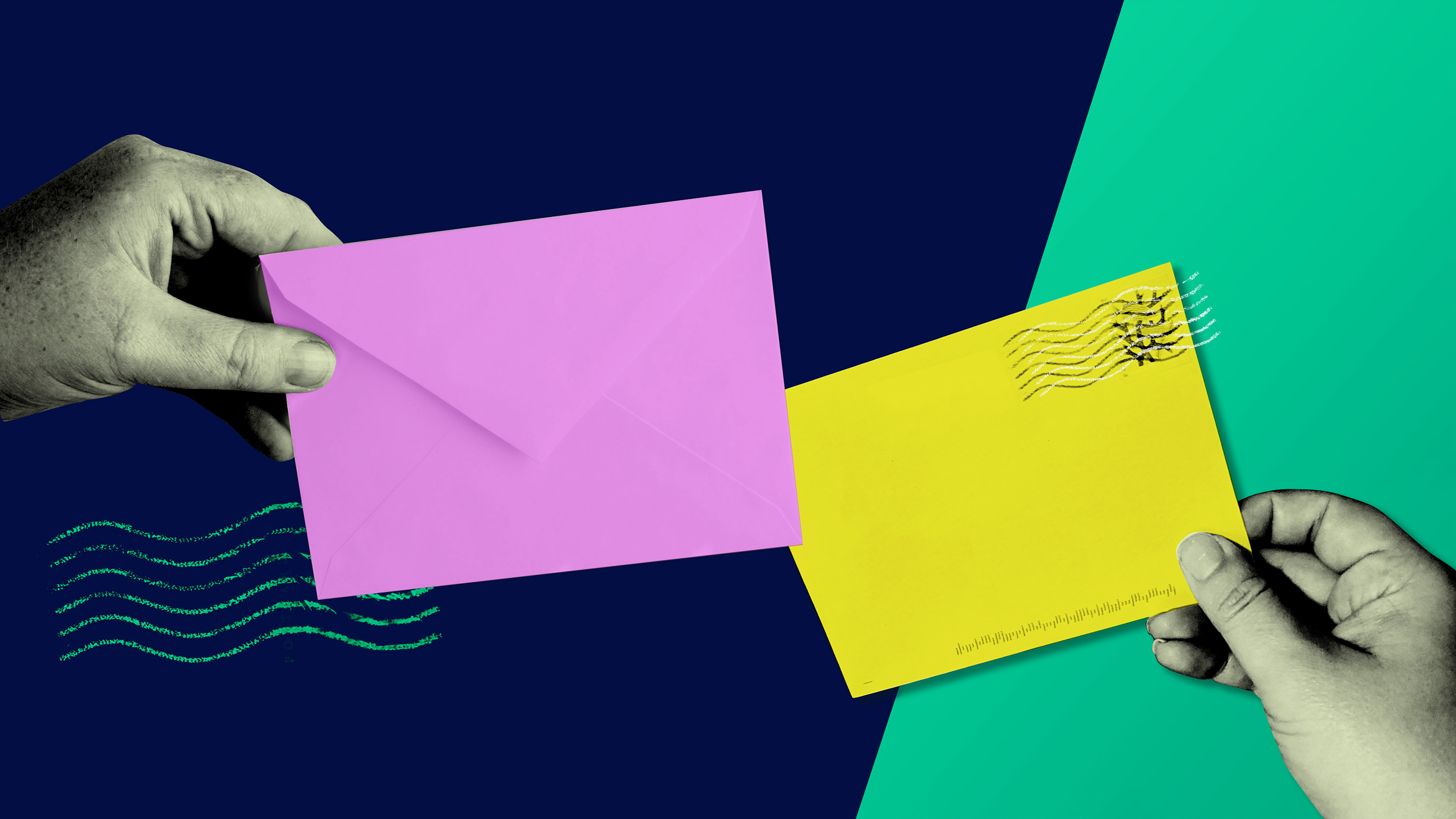 two hands holding envelopes left is pink right is yellow background is indigo on left and green on right