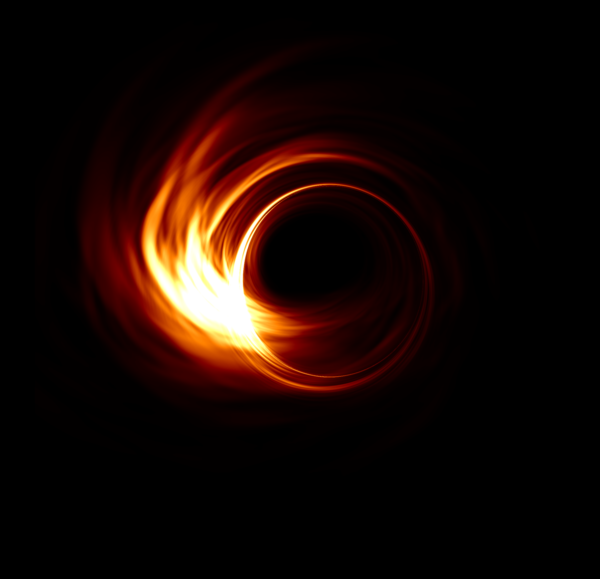 A simulation of the accretion disk of the M87* supermassive black hole.