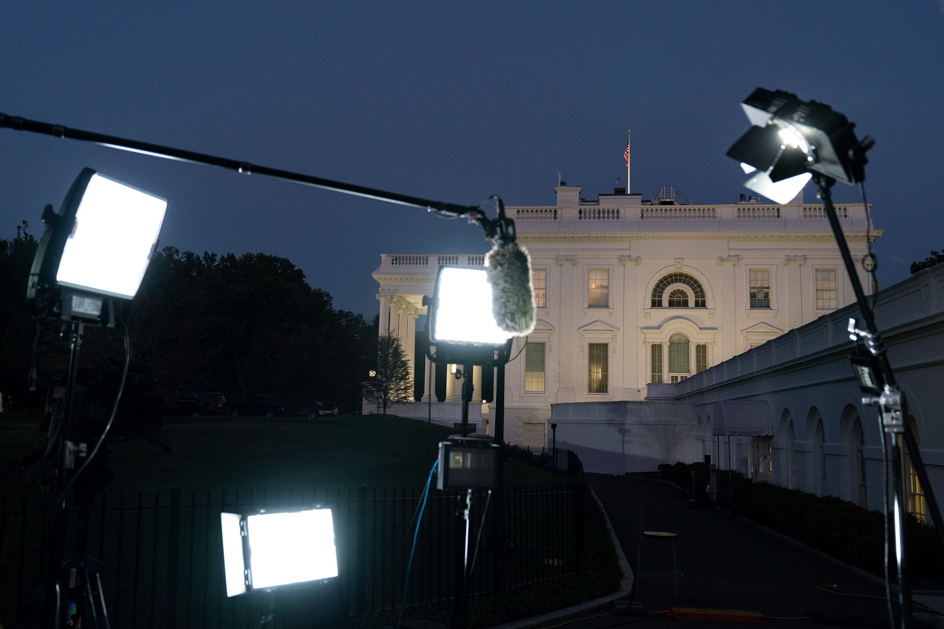press setup at white house