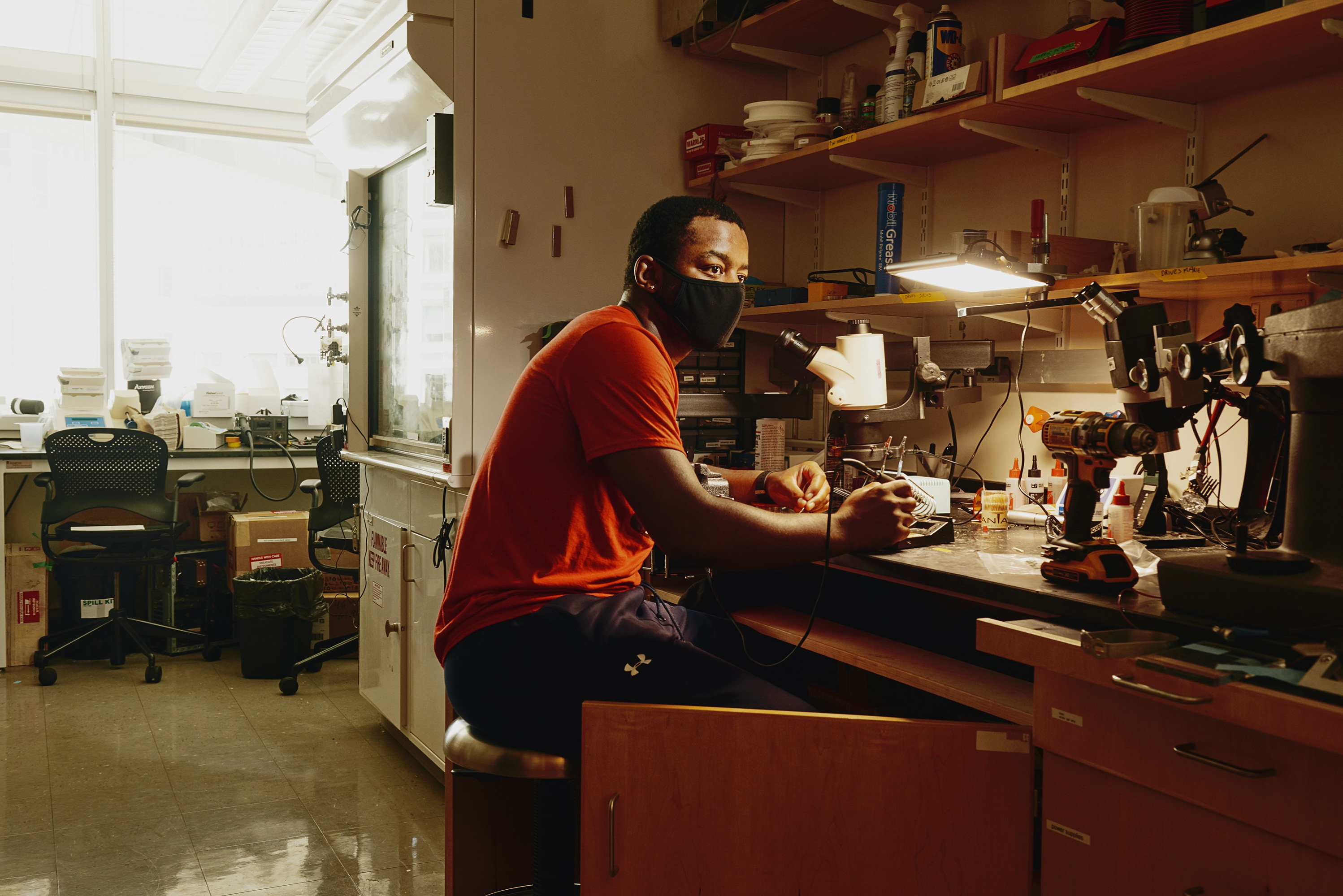 Miller in research lab