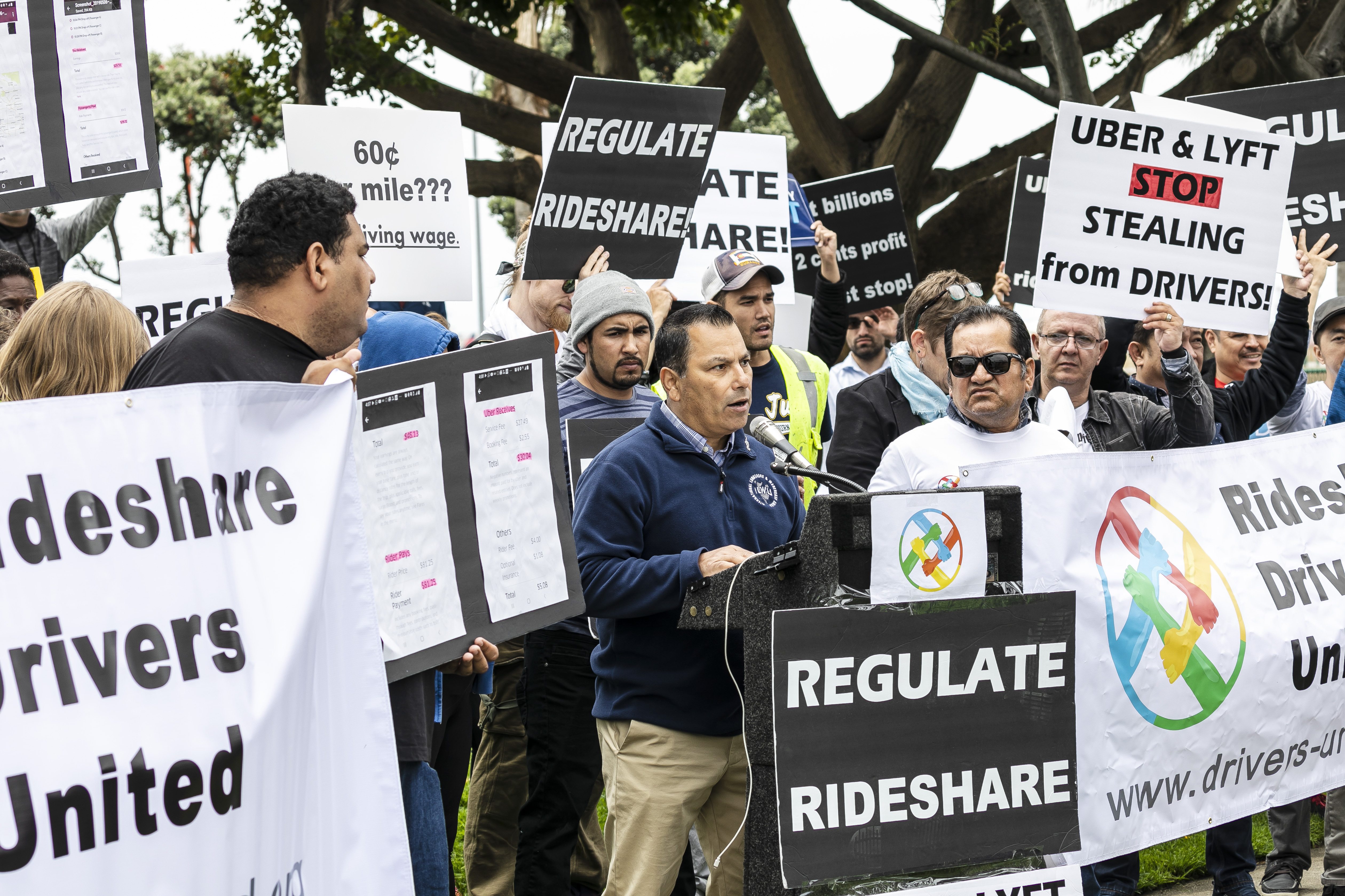 Ride share drivers from Uber and Lyft hold a one day nationwide strike for better and fairer wage splits from the ride share companies. Drivers held a rally and demonstrated near the LAX International Airport in Los Angeles, CA on May 8, 2019. (Photo by Ted Soqui/Sipa USA)(Sipa via AP Images)
