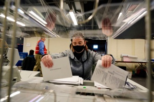 image of woman counting vote in philadelphia livestream election 2020 PA vote tally