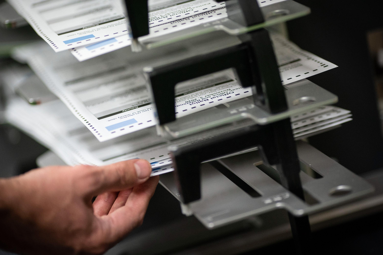 poll worker sorts ballots