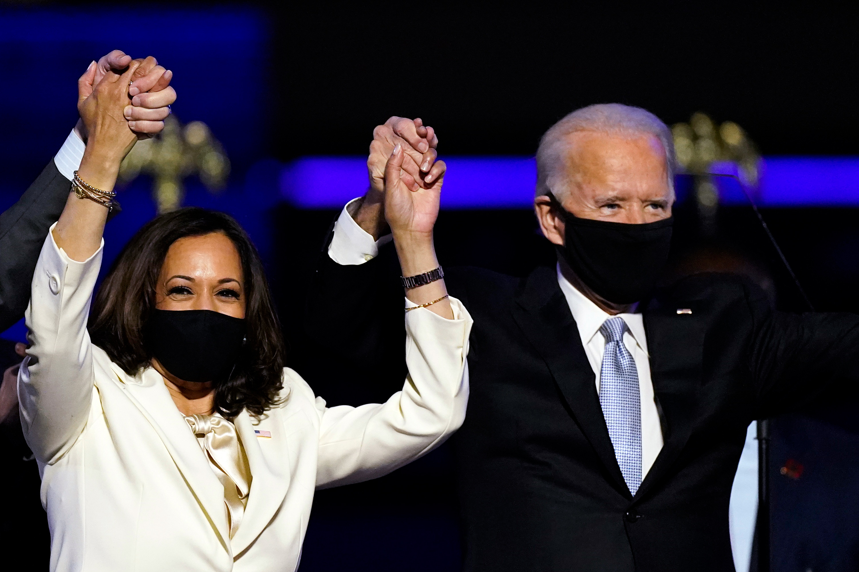 biden and harris on stage delaware
