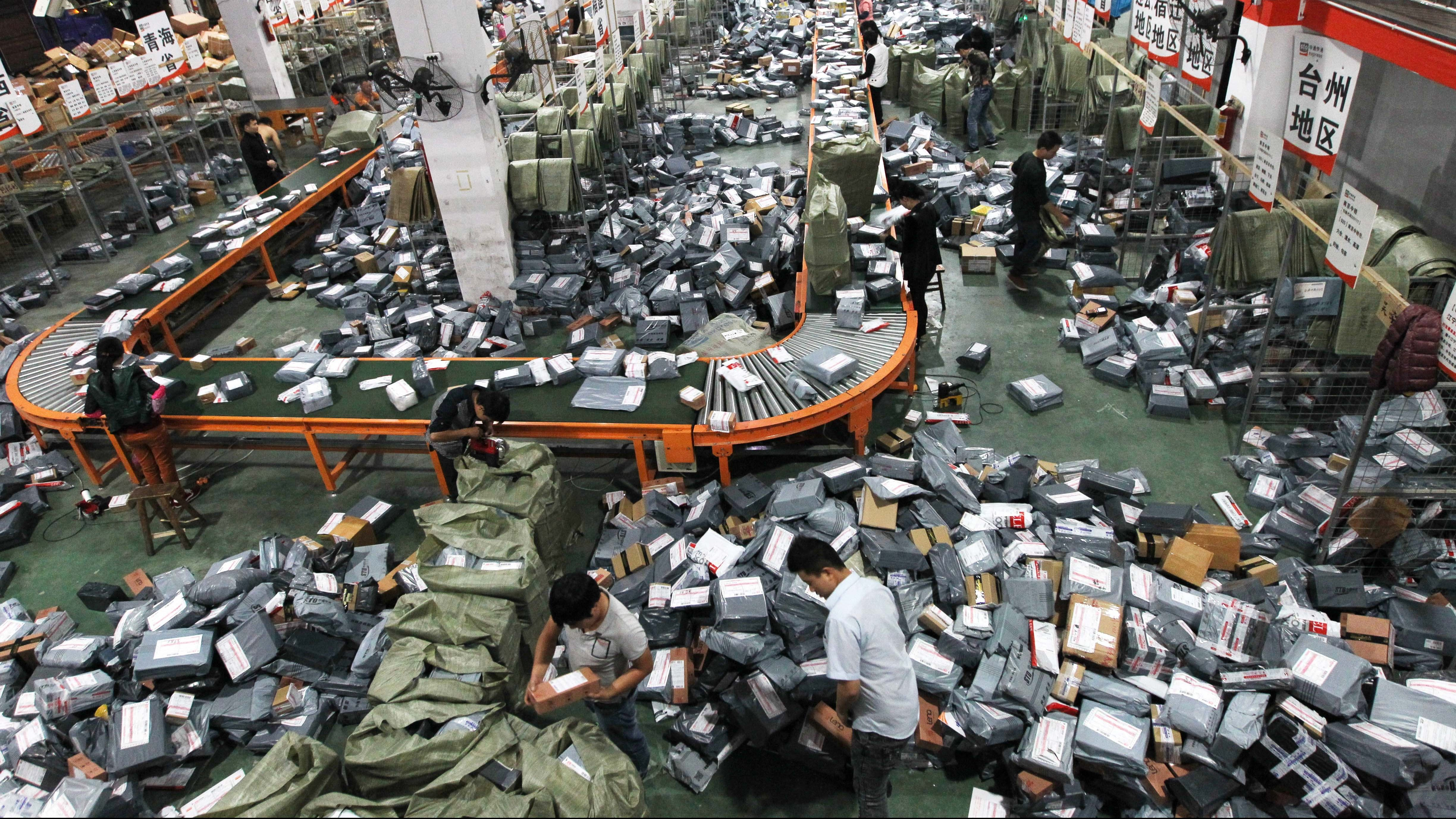 Tens of thousands of packages wait to be sorted and delivered.