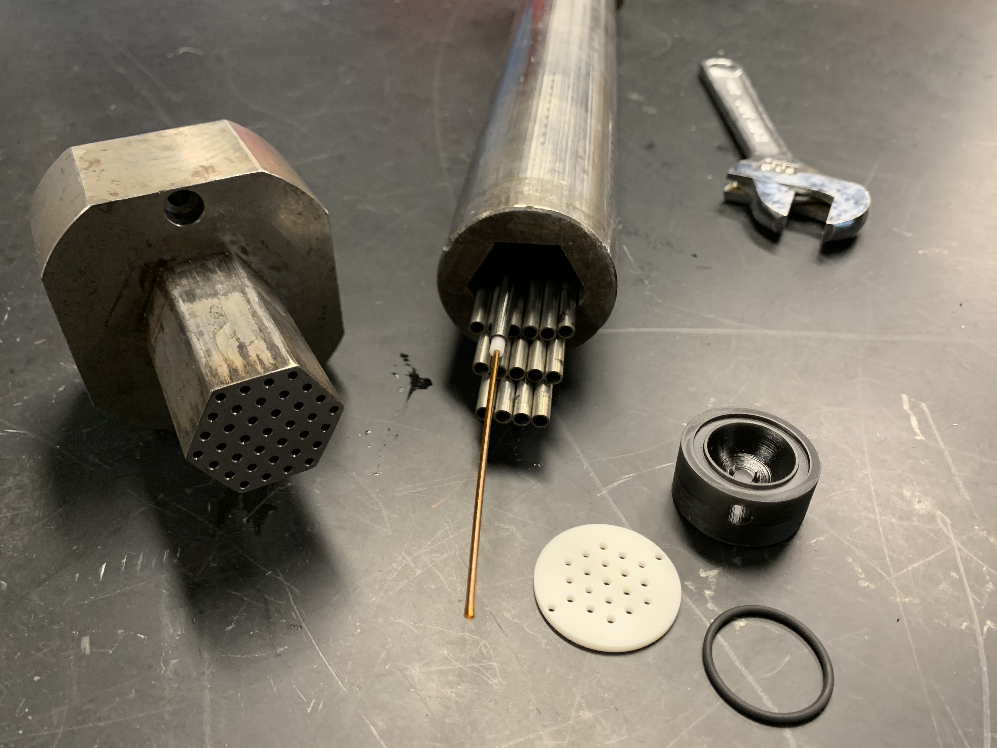 Tubes and other components of a caloric materials prototype developed at the University of Maryland.