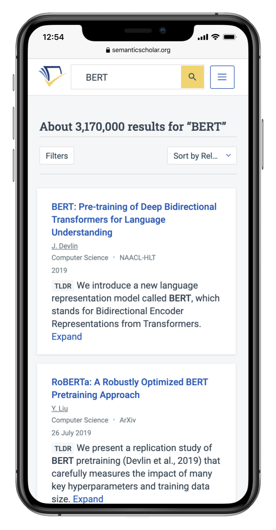 Semantic Scholar's TLDR feature on mobile.
