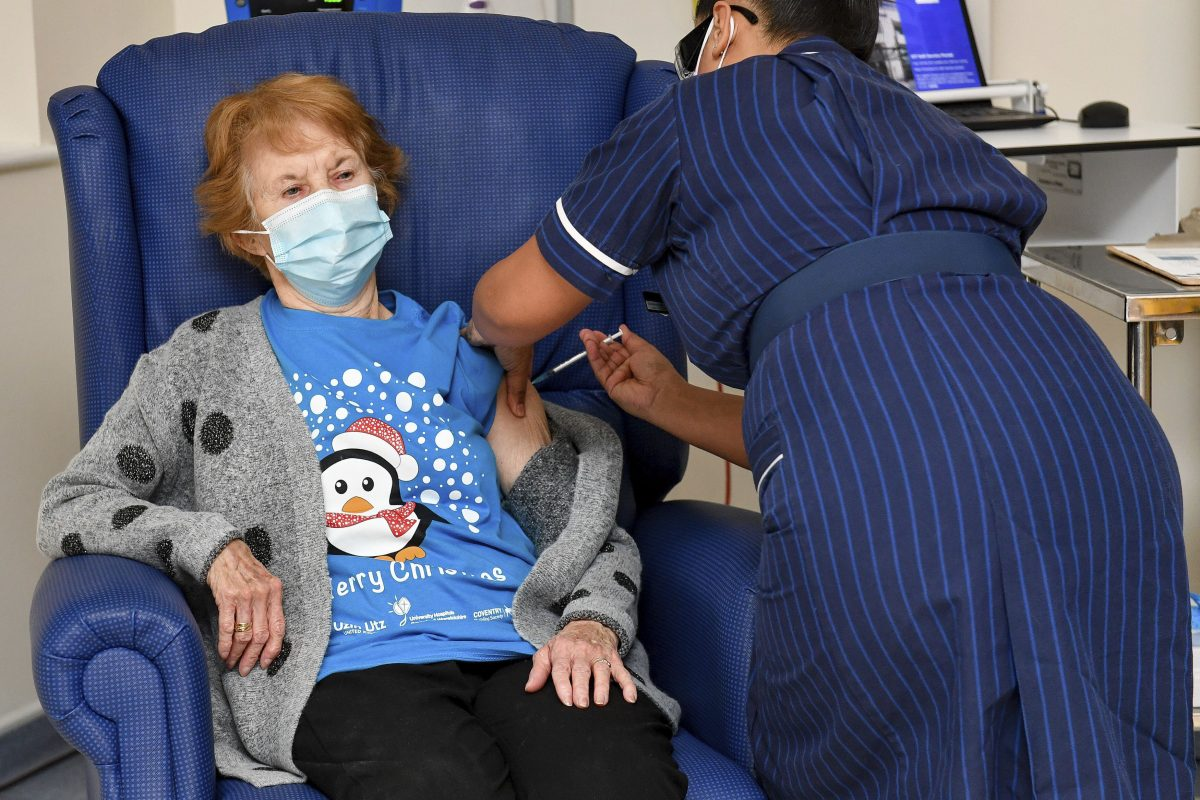 90 year old Margaret Keenan, the first patient in the UK to receive a covid-19 vaccine.