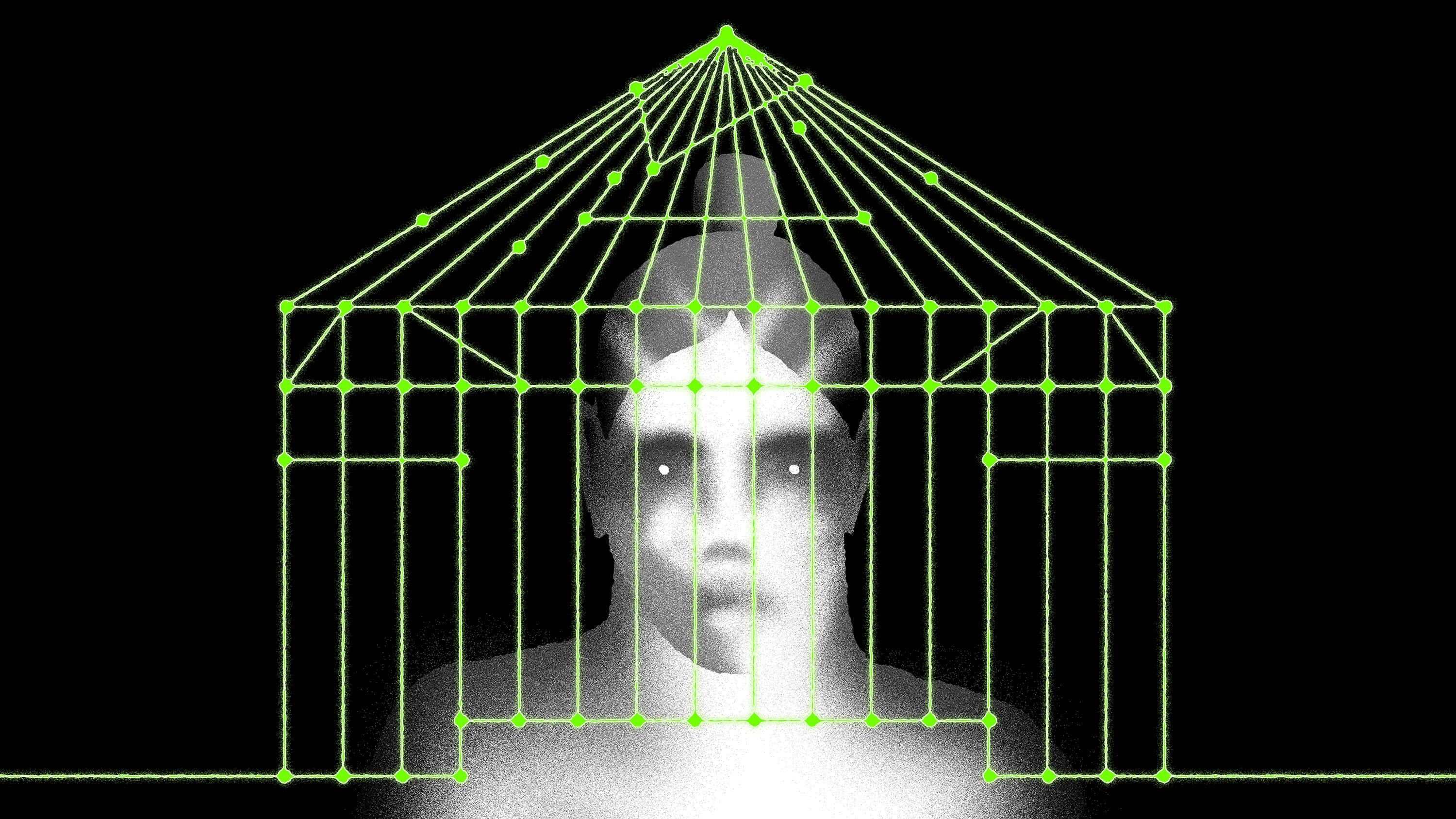 Illustration of a woman trapped in a web of algorithms that look like a jail cell.