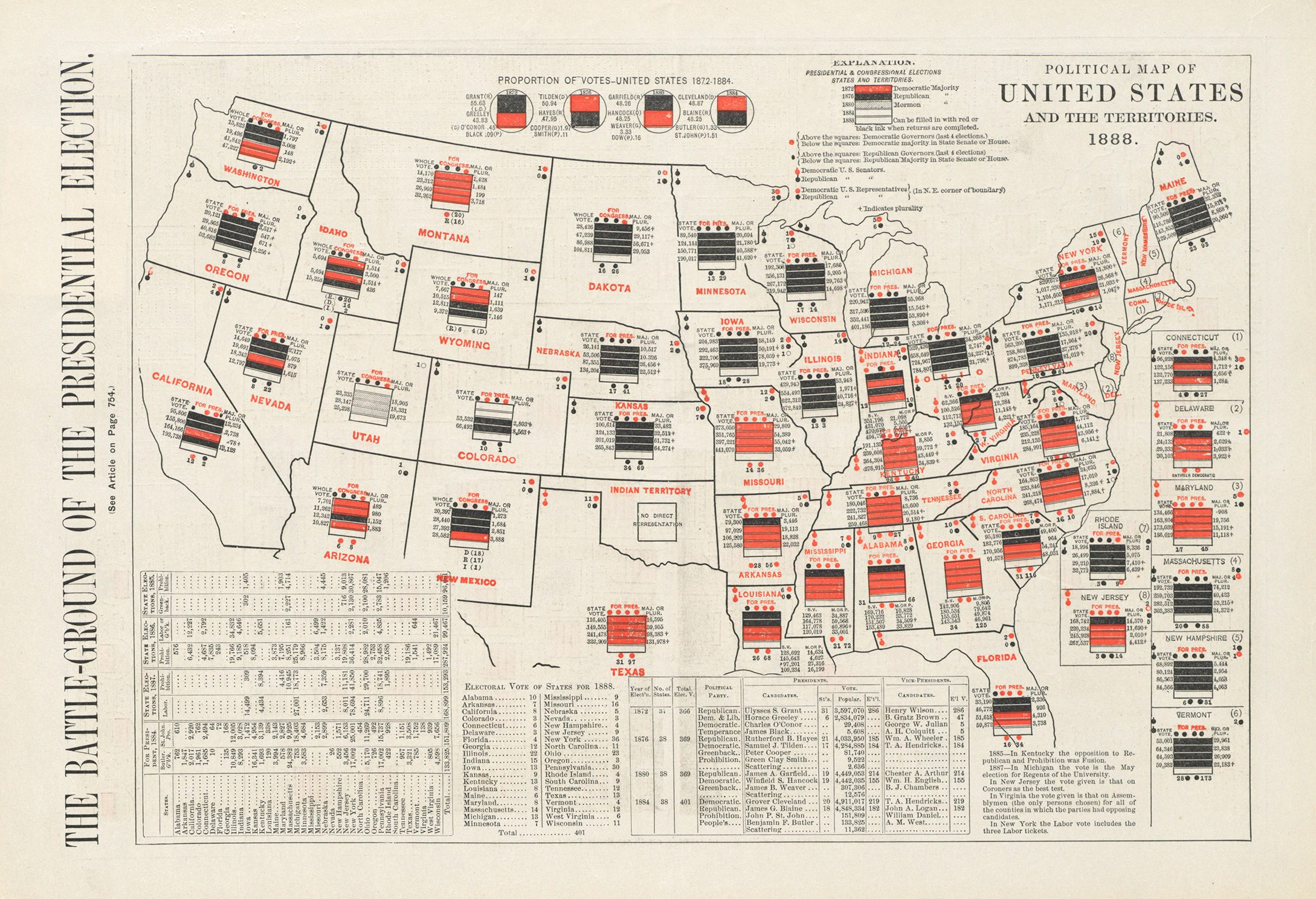 Political map of the US 1888