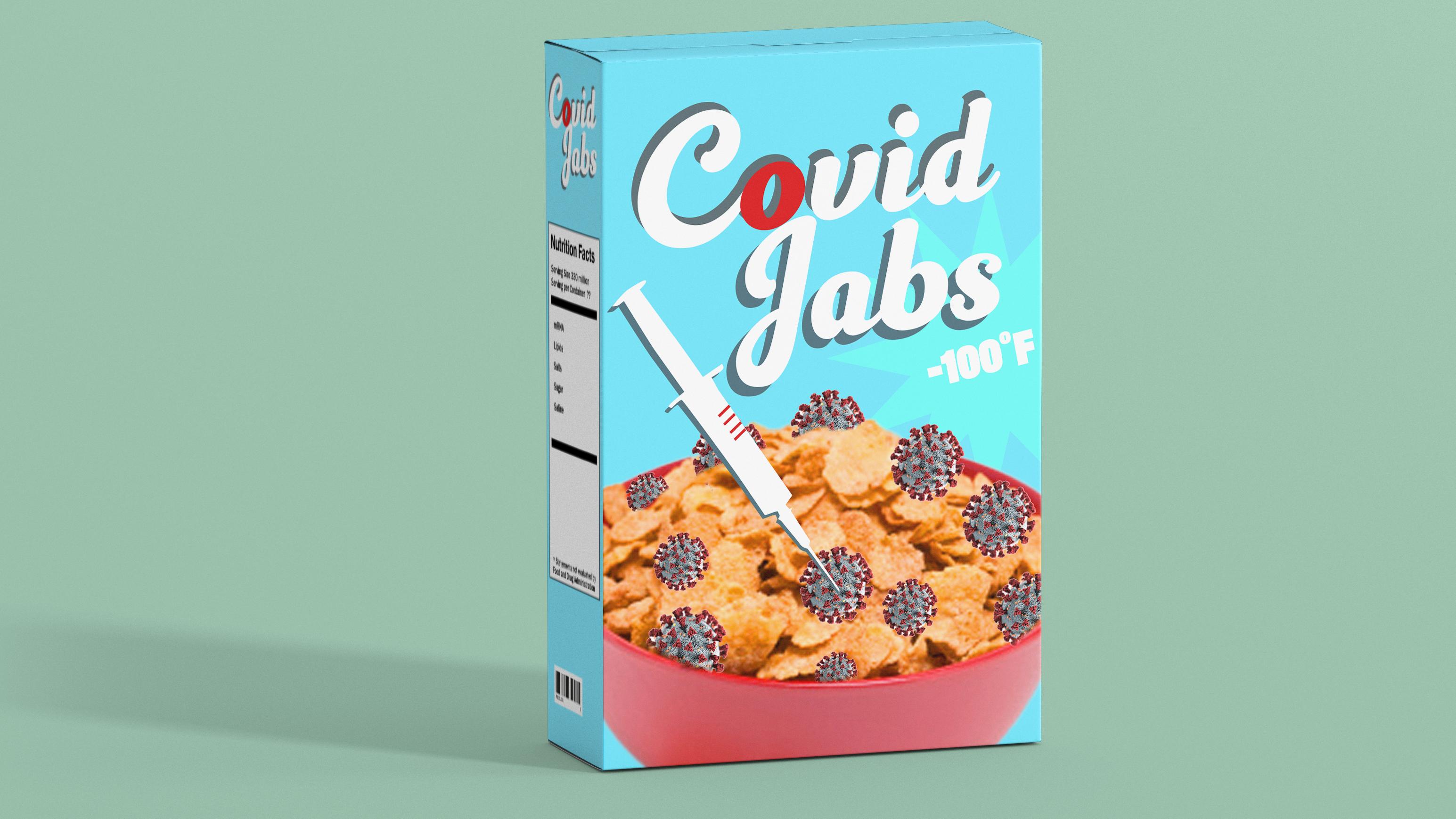 covid jabs cereal illo