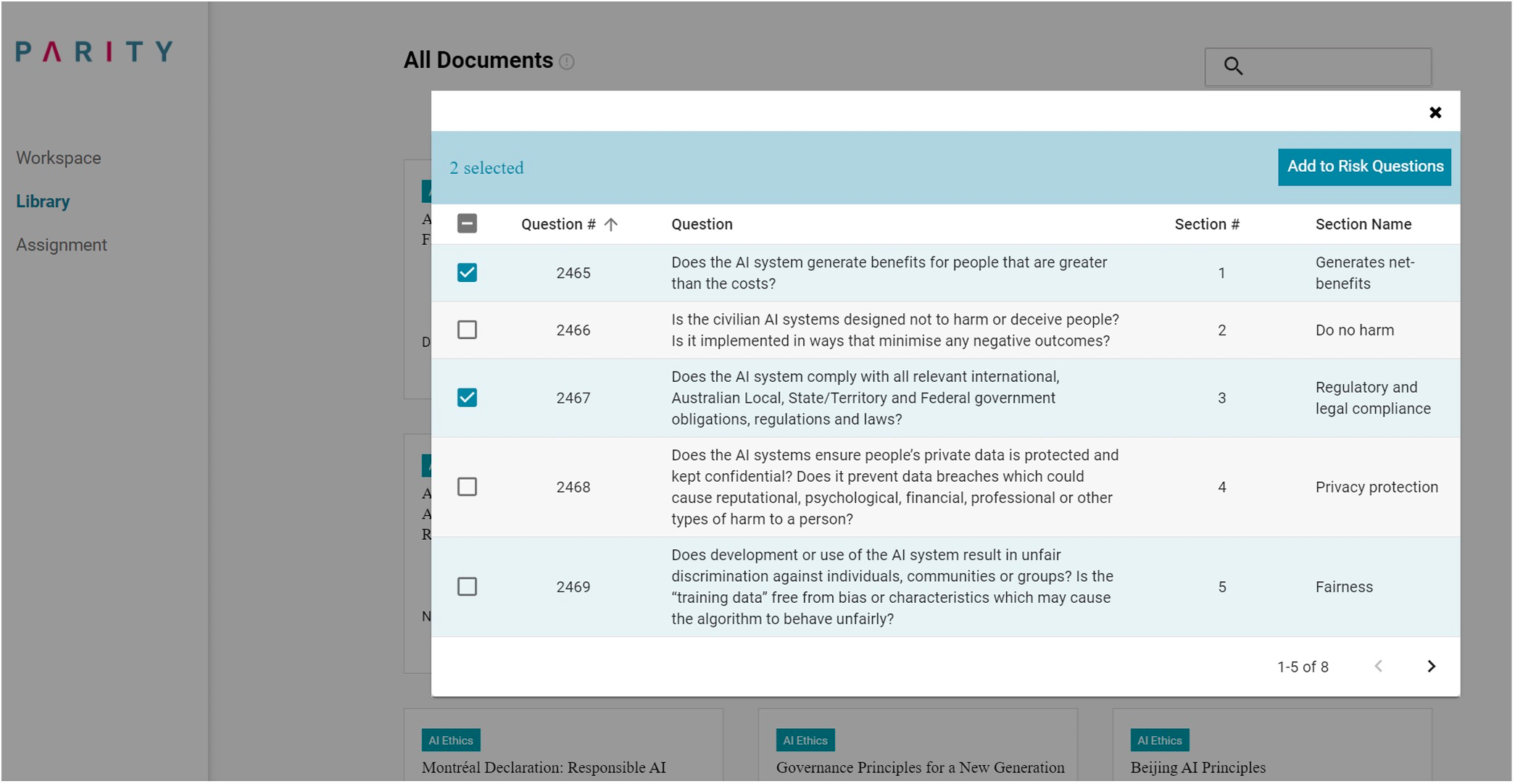 A screenshot of Parity's library of impact assessment questions.