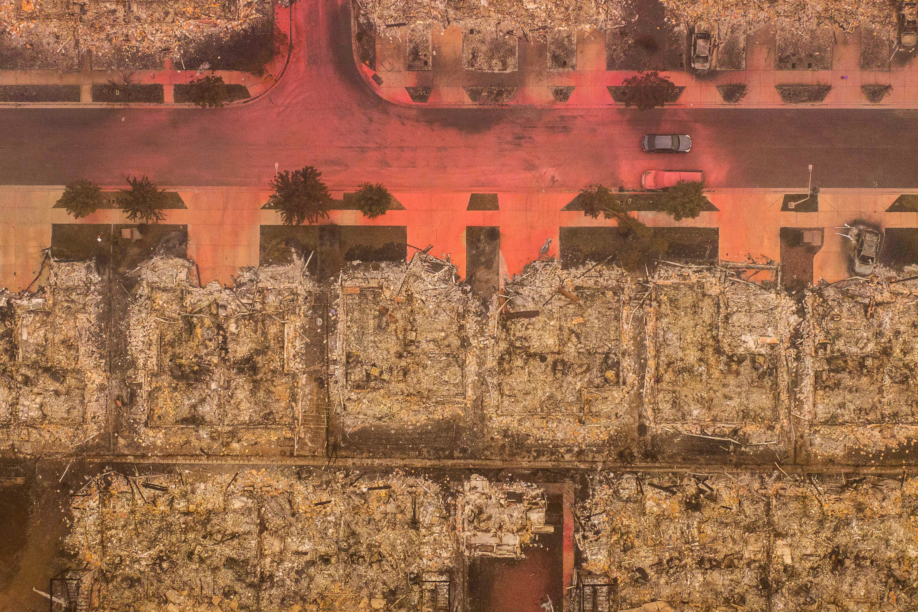 wildfire aftermath aerial