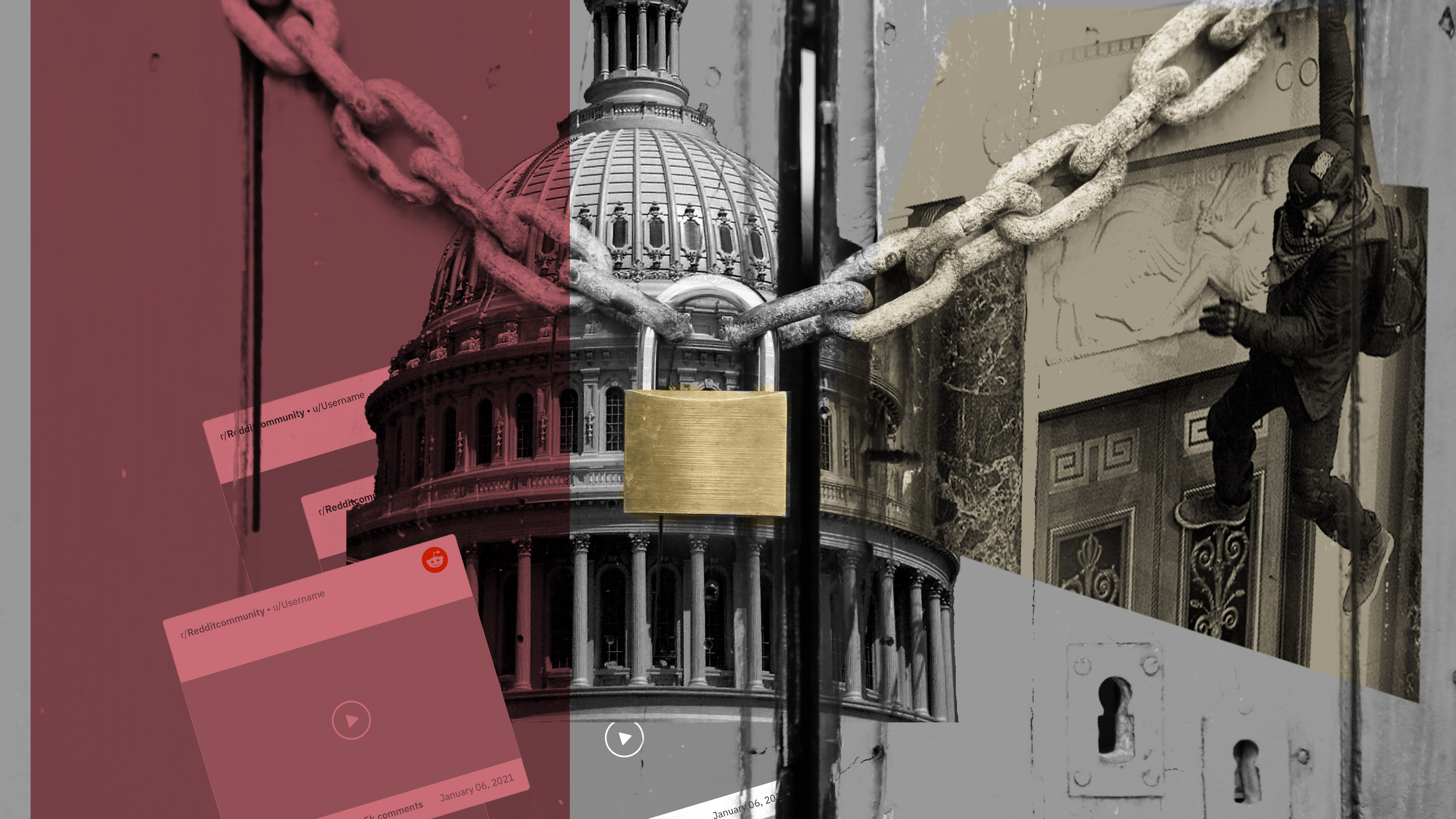 image showing capitol building in washington with images of mob and social media screen grabs over it with lock and chain overlaid on top