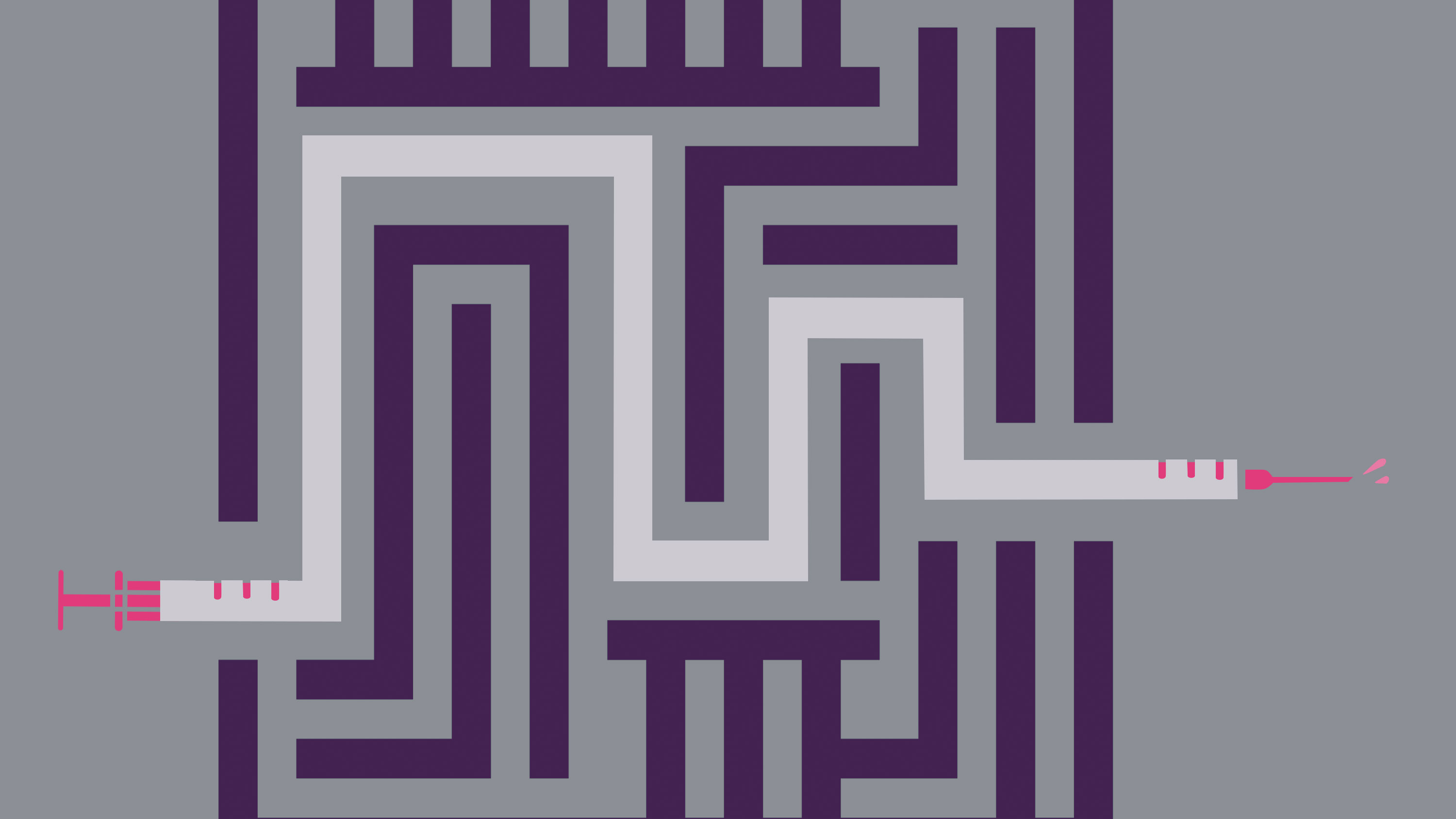 image of a purple maze with the path highlighted as a white vaccination needle with red marks on a gray background