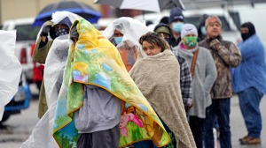Texans wait in line for emergency supplies